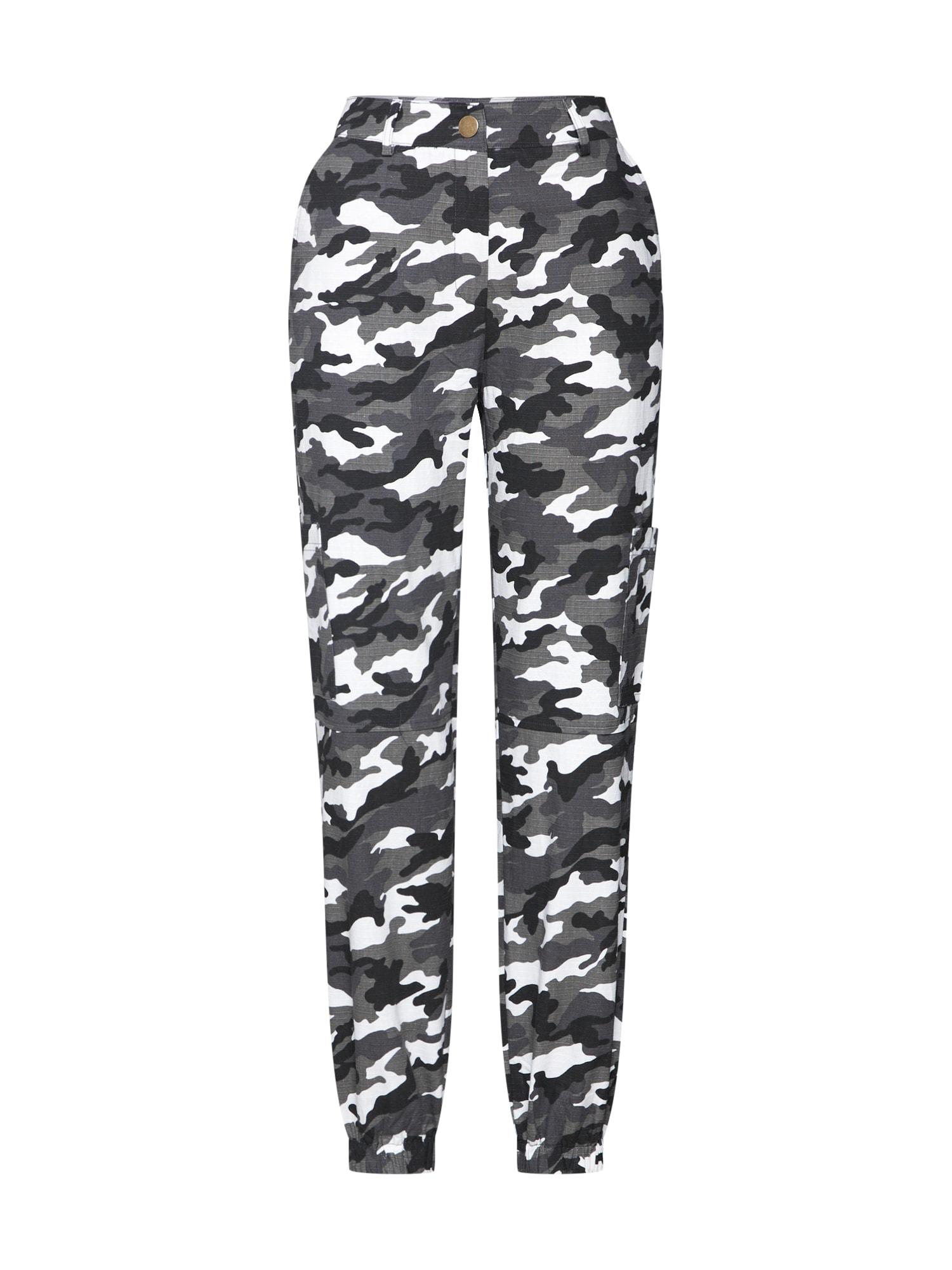 Chino kalhoty šedá černá bílá Missguided