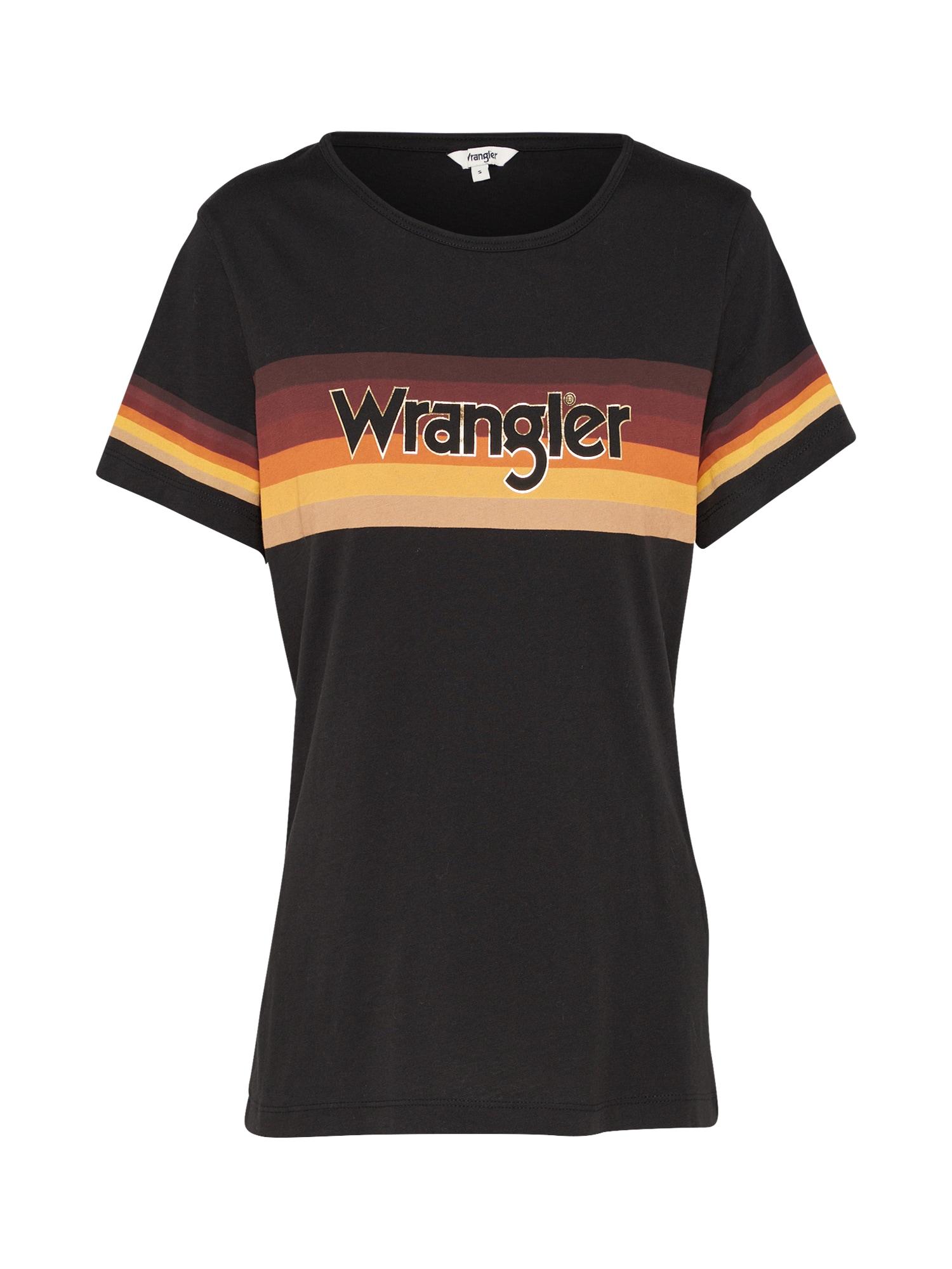 WRANGLER Dames Shirt RETRO RAINBOW geel donkeroranje zwart
