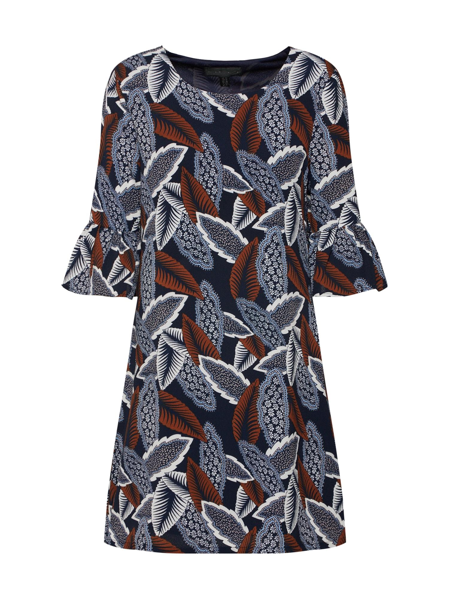 Šaty LEAF PRINT SHIFT námořnická modř kouřově modrá Mela London