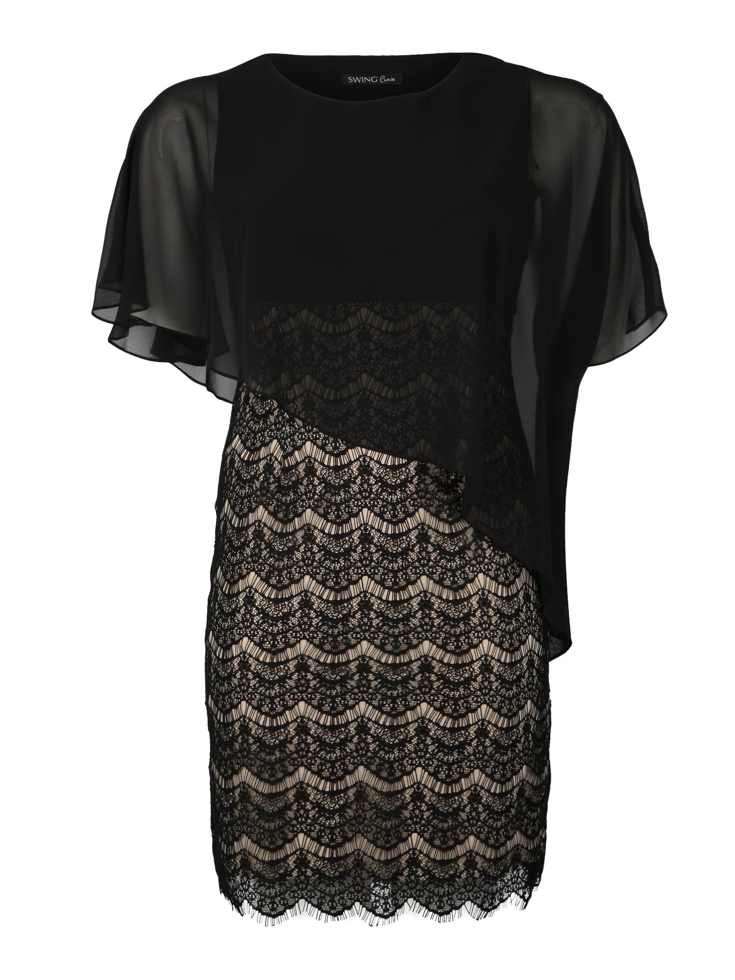 Koktejlové šaty zlatá černá SWING Curve