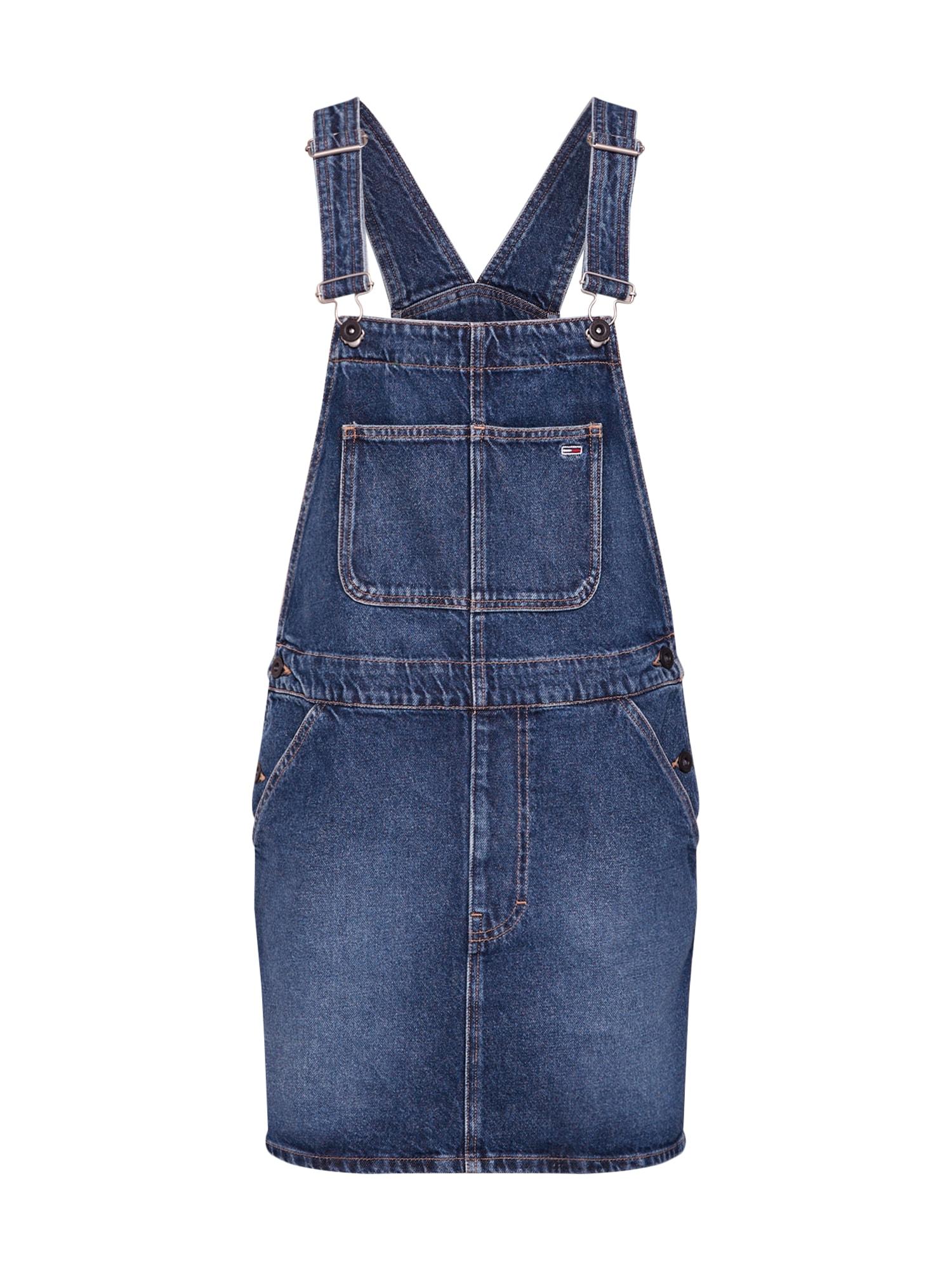 Laclová sukně Dungaree modrá džínovina Tommy Jeans