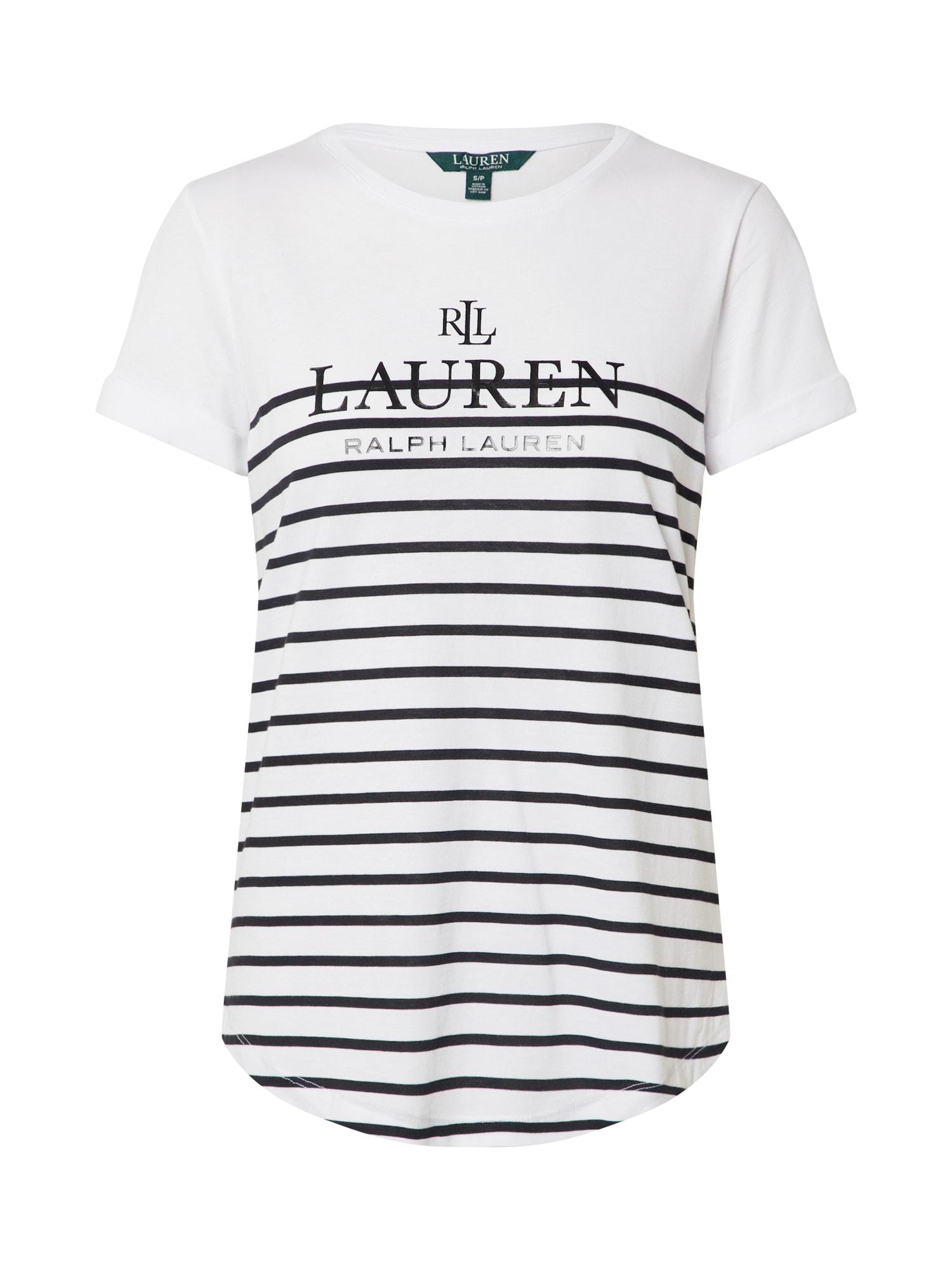 Lauren Ralph Lauren Tričko 'HAILLY'  černá / bílá