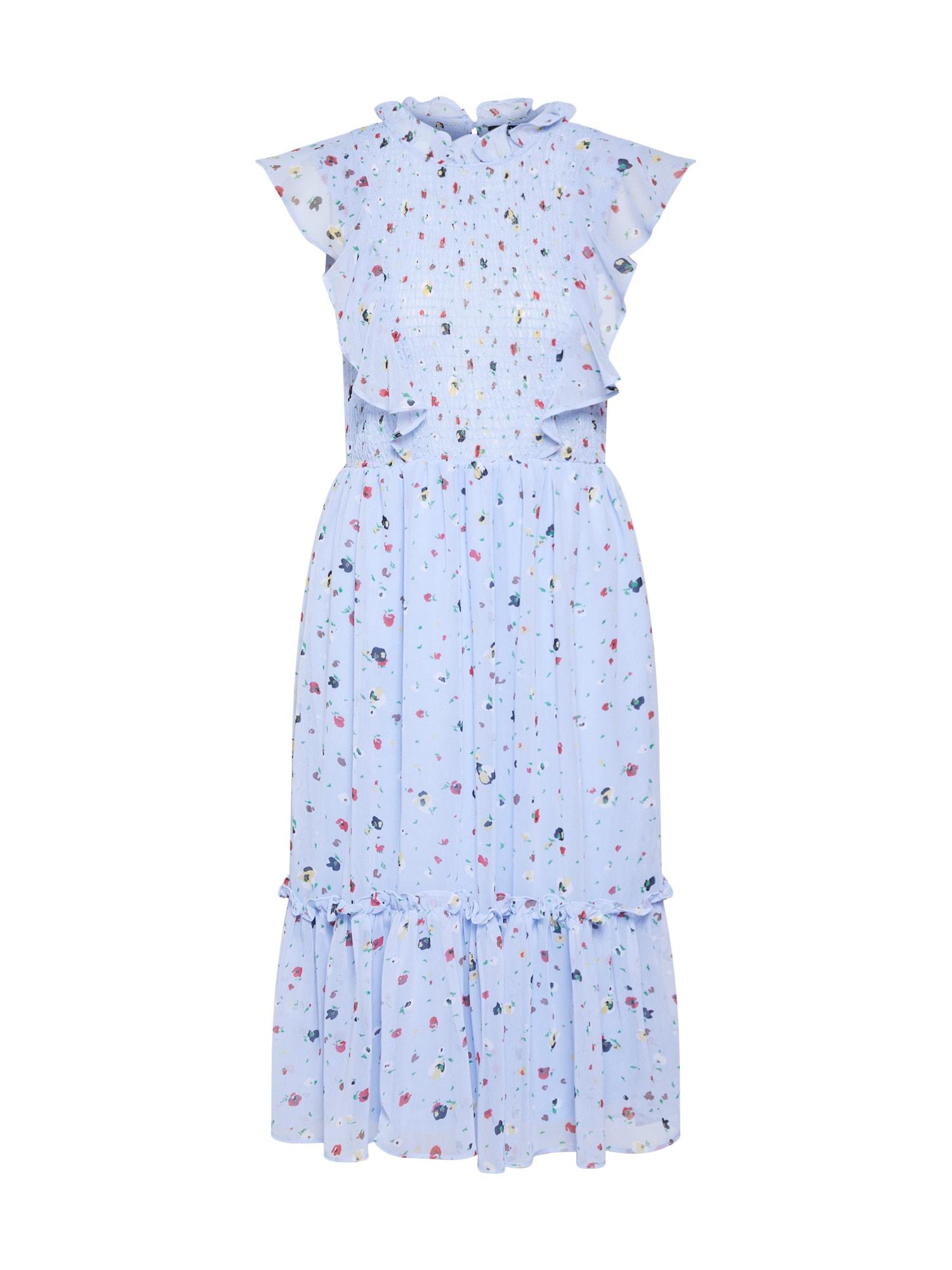 Boohoo Sukienka koktajlowa 'FLORAL MIDI DRESS WITH SHIRRING'  jasnoniebieski / czerwony / biały
