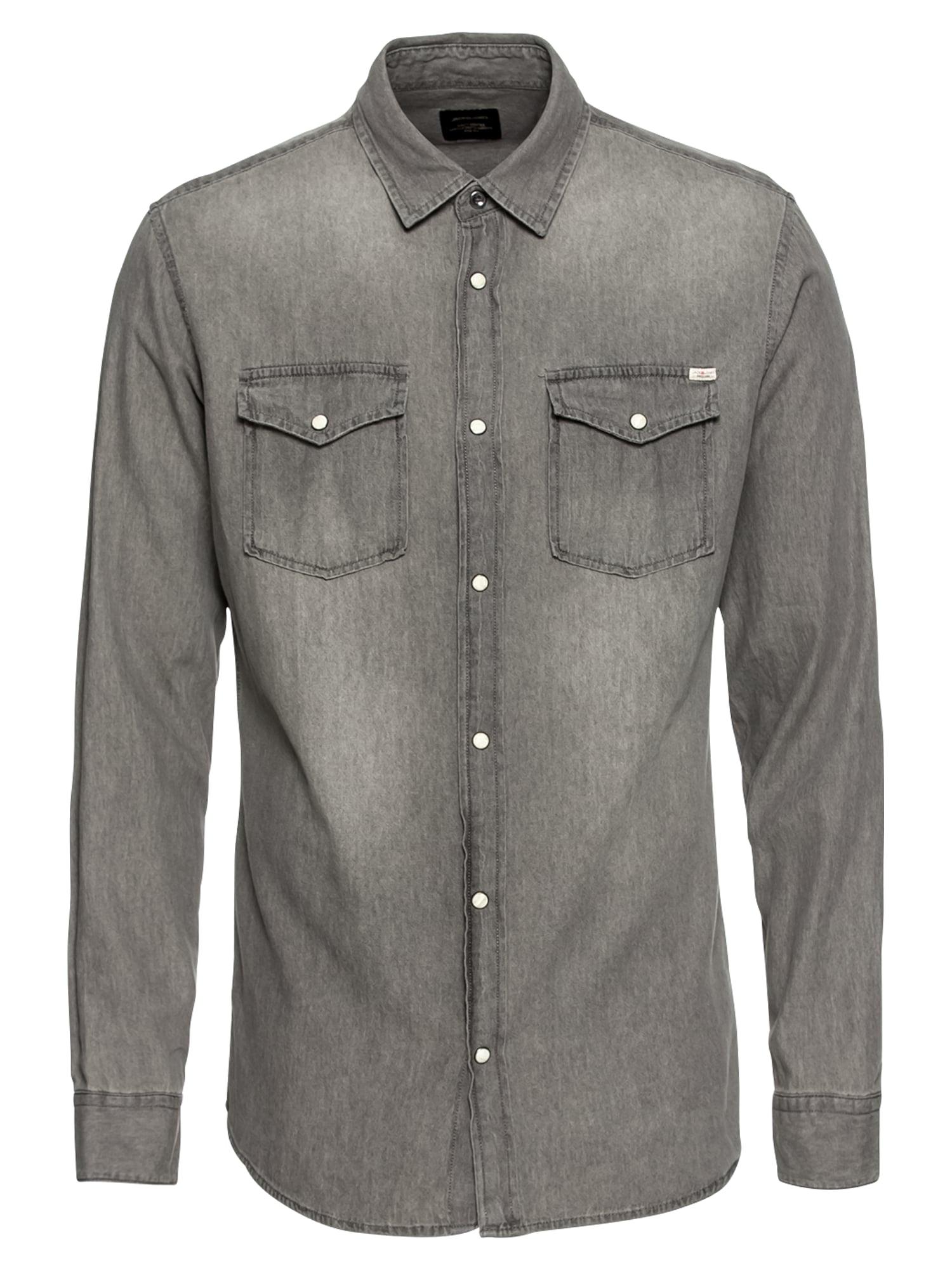 Košile JJESHERIDAN šedá šedá džínová JACK & JONES