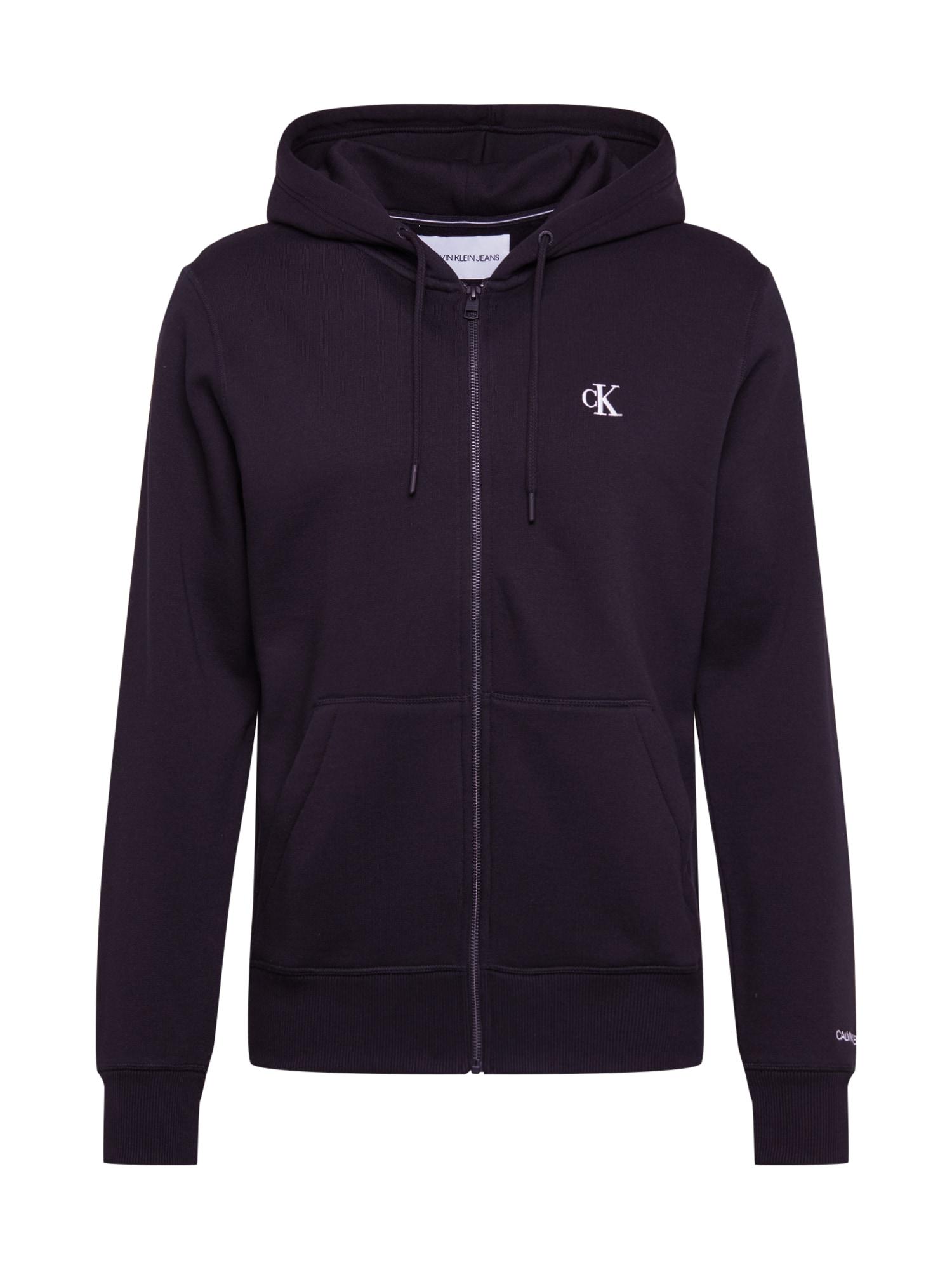 Calvin Klein Jeans Mikina s kapucí 'CK ESSENTIAL REG ZIP THROUGH'  černá