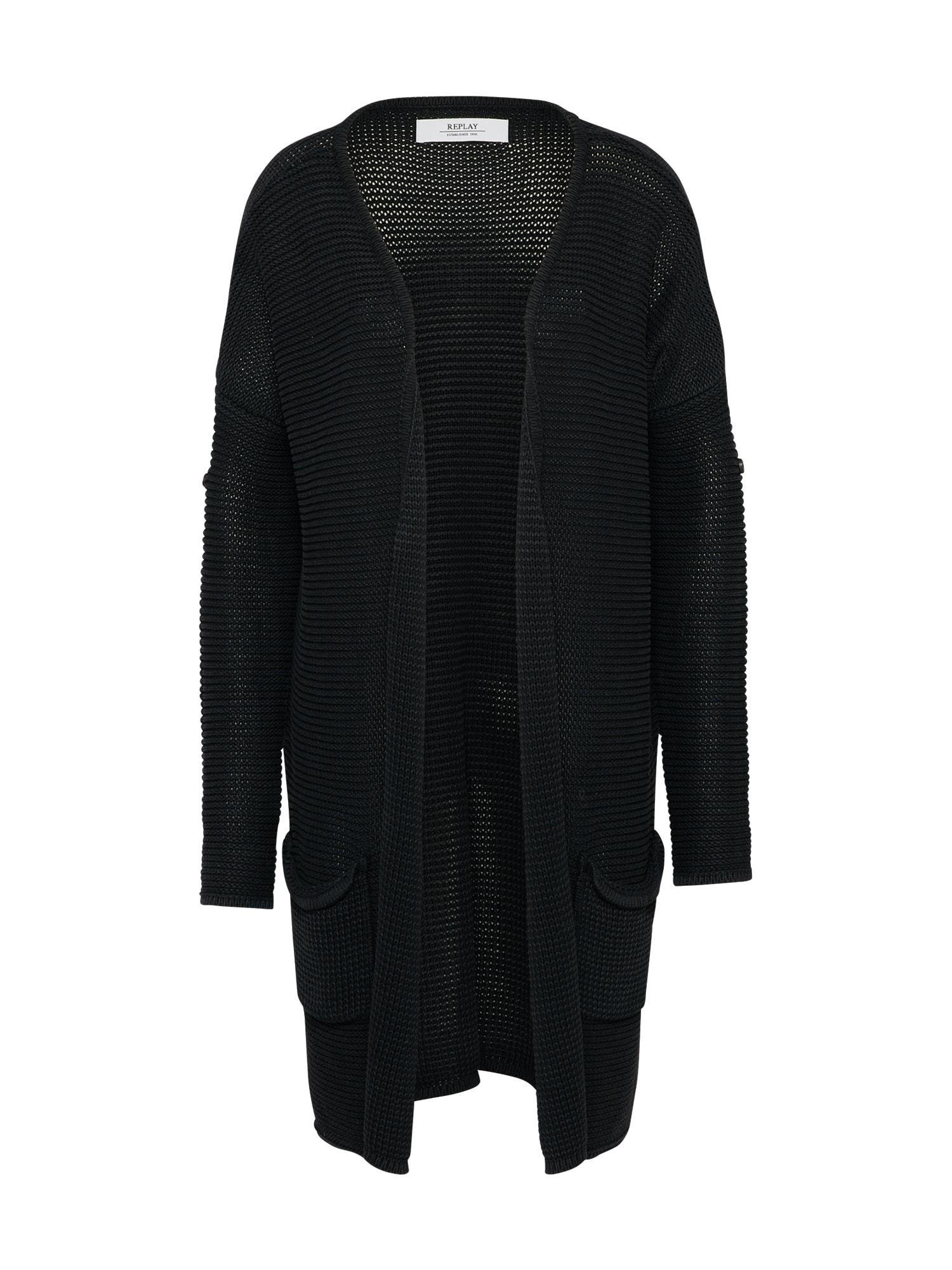 REPLAY Dames Oversized vest Masche zwart