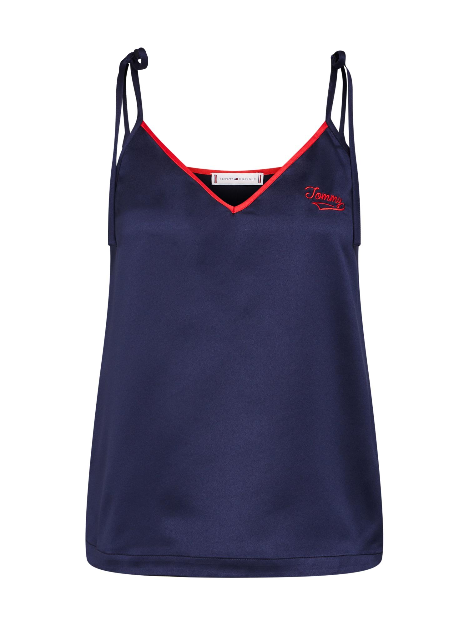 Tričko na spaní tmavě modrá červená Tommy Hilfiger Underwear