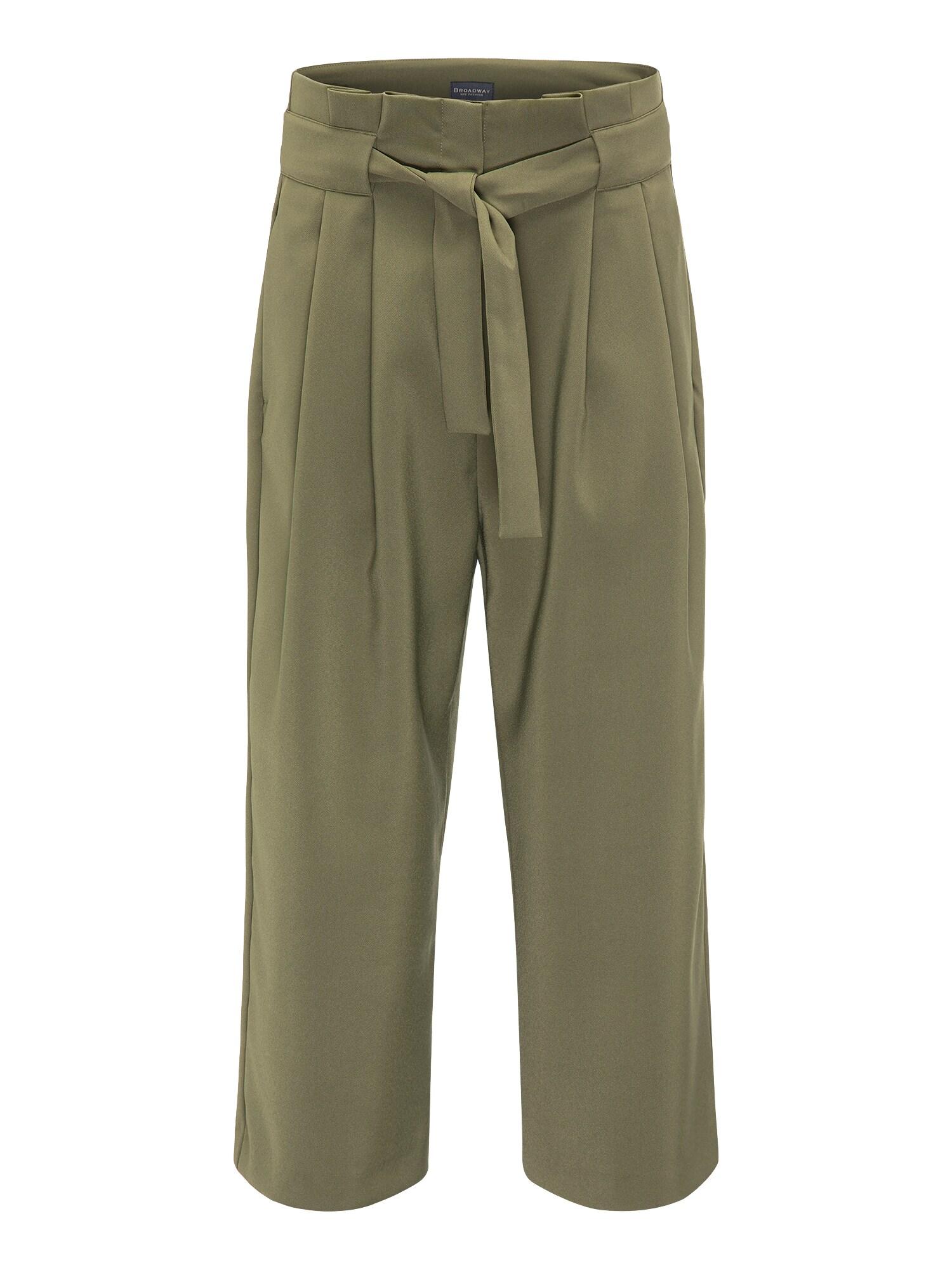 Kalhoty se sklady v pase ODINA tmavě zelená BROADWAY NYC FASHION