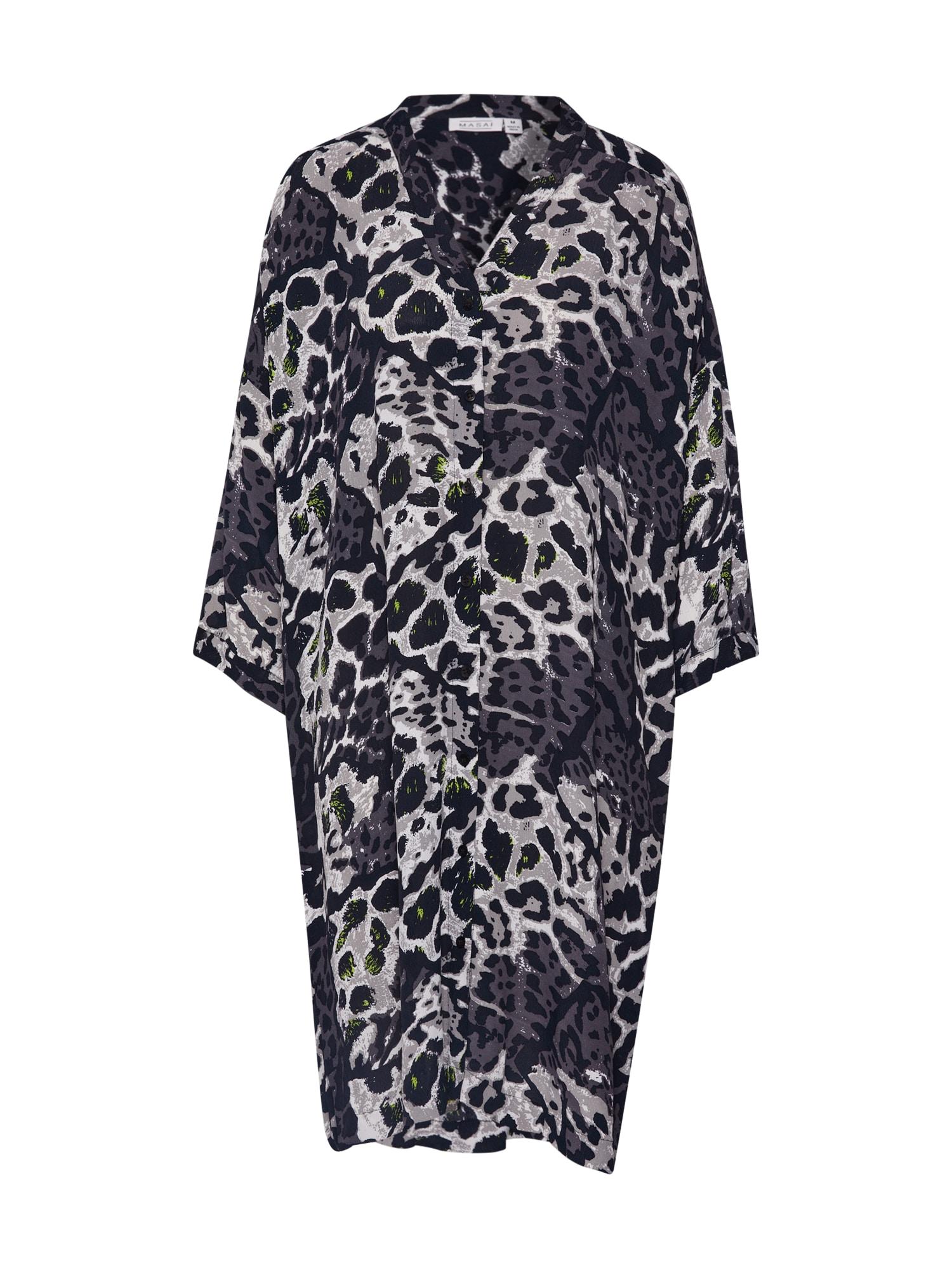 Masai Košilové šaty 'Nakata'  tmavě šedá / černá / světle šedá
