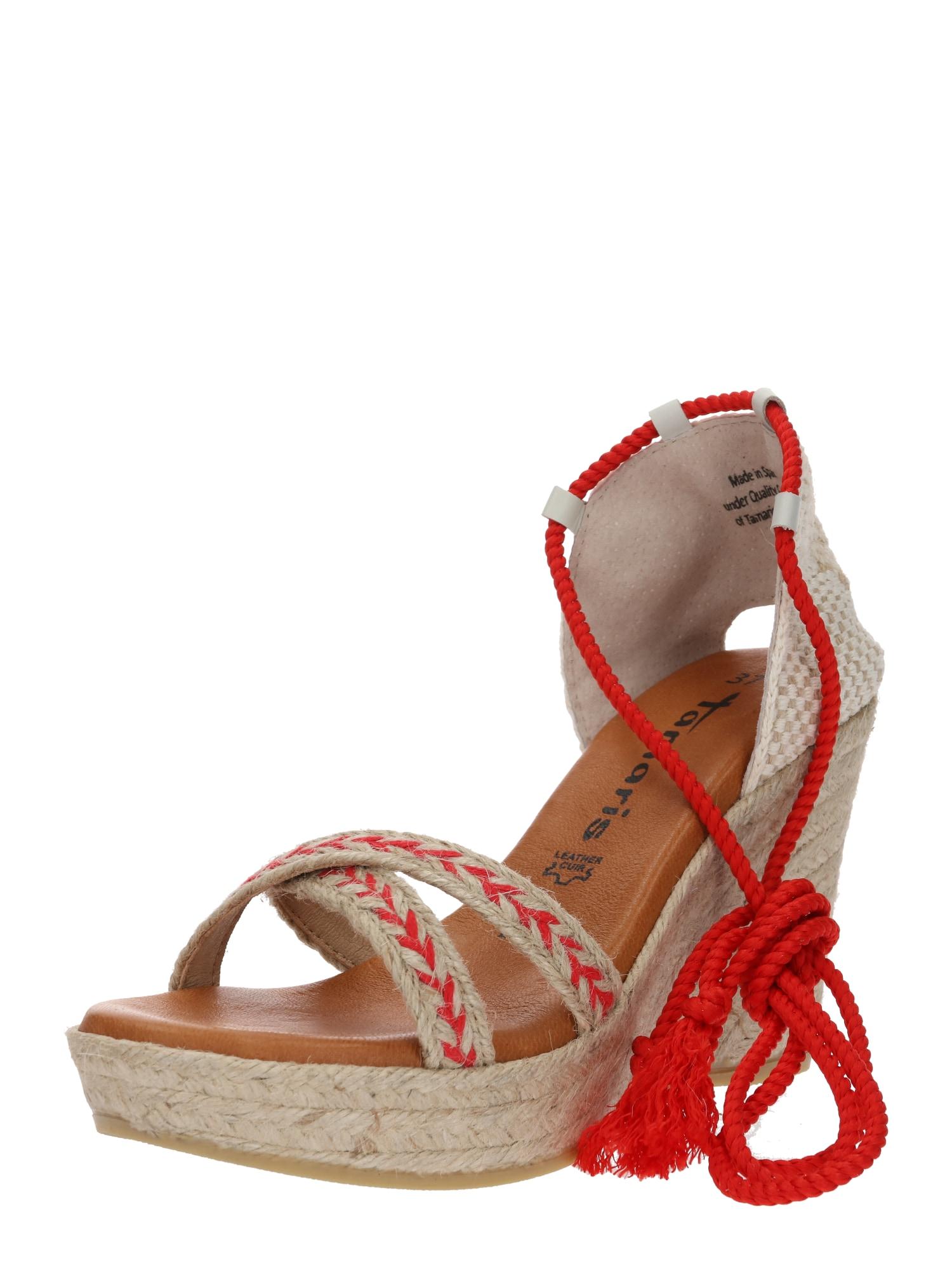 Páskové sandály Wedge Sandle béžová červená TAMARIS