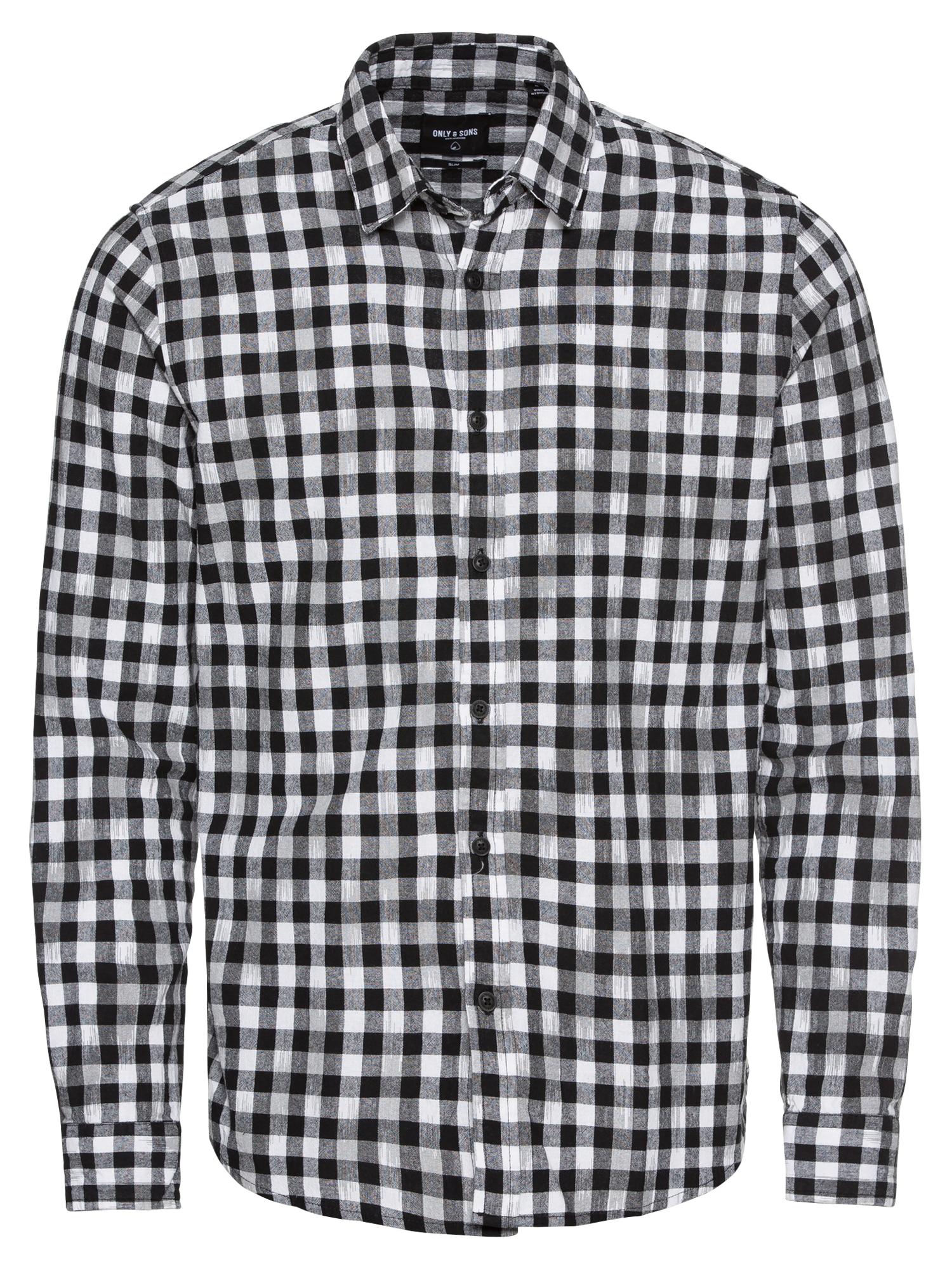 Společenská košile onsGORDEY LS CHECKANDPRINT černá bílá Only & Sons