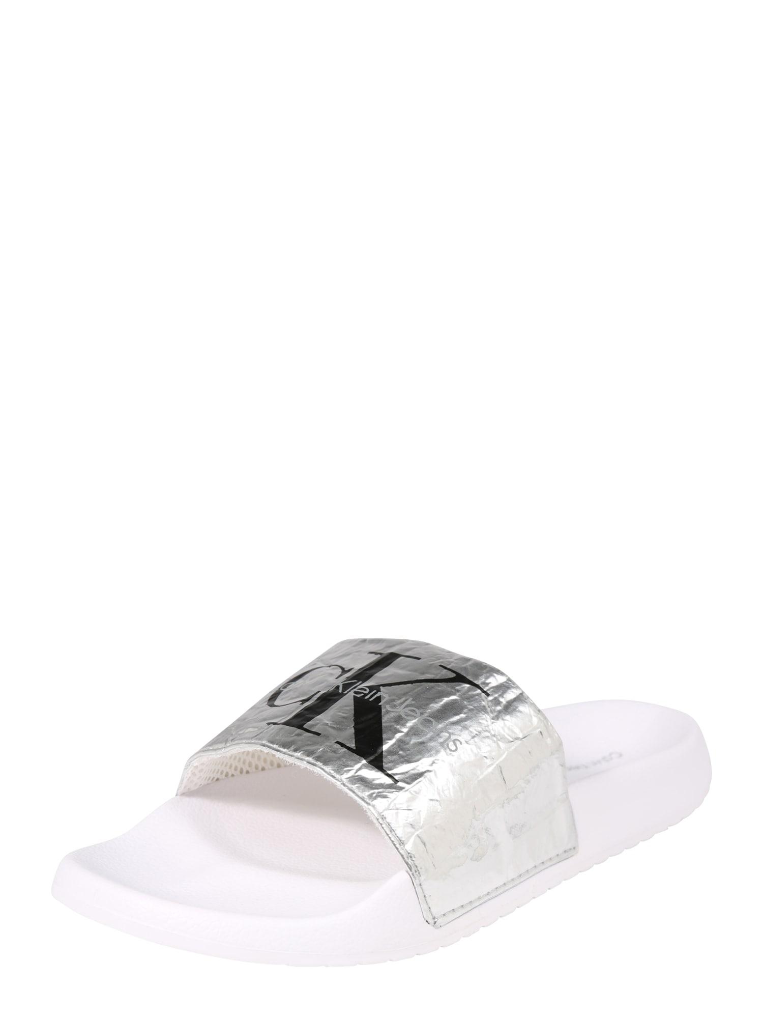 Calvin Klein Jeans Šľapky 'Chantal'  strieborná / biela