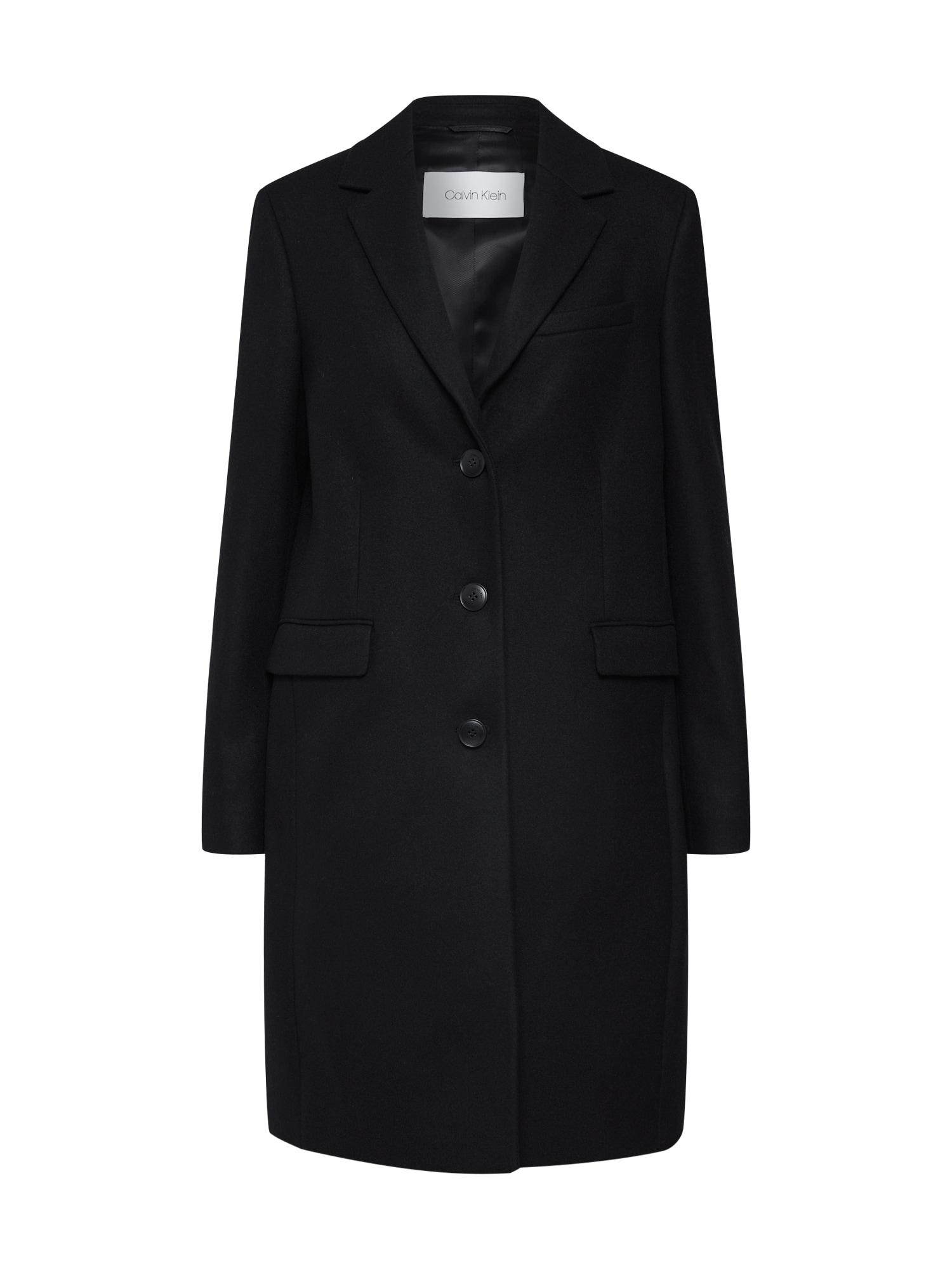 Přechodný kabát WOOL CASHMERE MELTON CROMBY COAT černá Calvin Klein