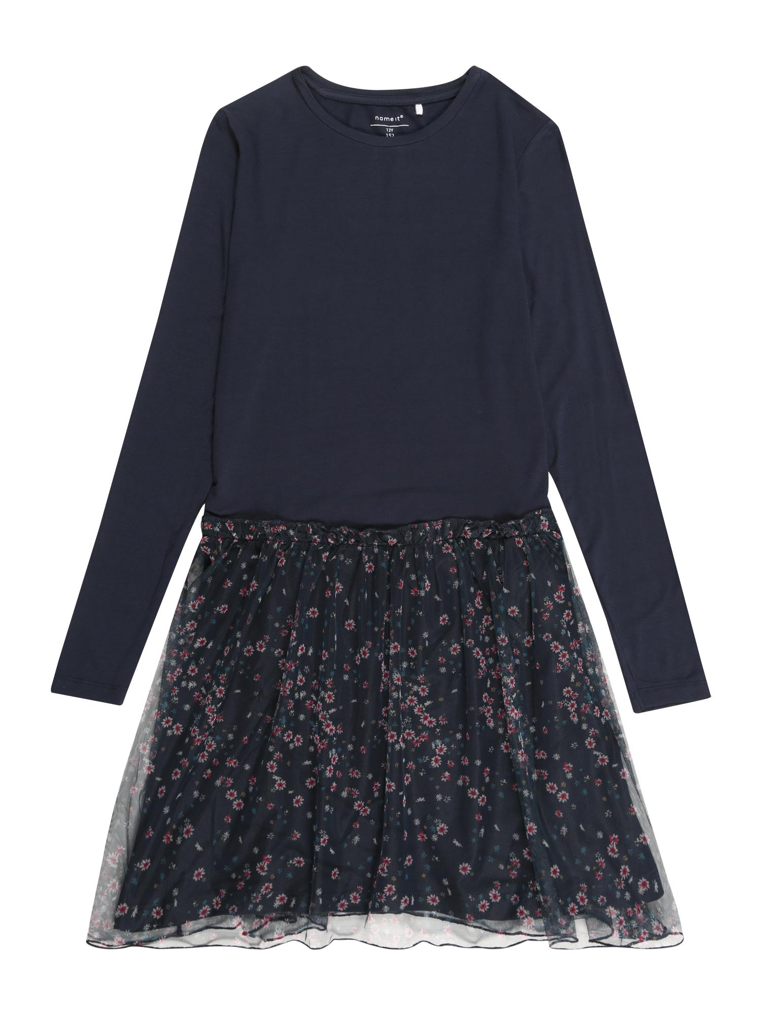 Name it Meisjes Jurk 'NKFOLALA LS' donkerblauw / rosé