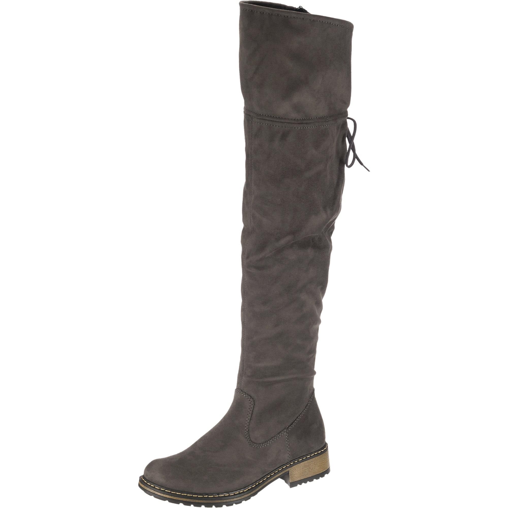 RIEKER, Dames Overknee laarzen, stone grey