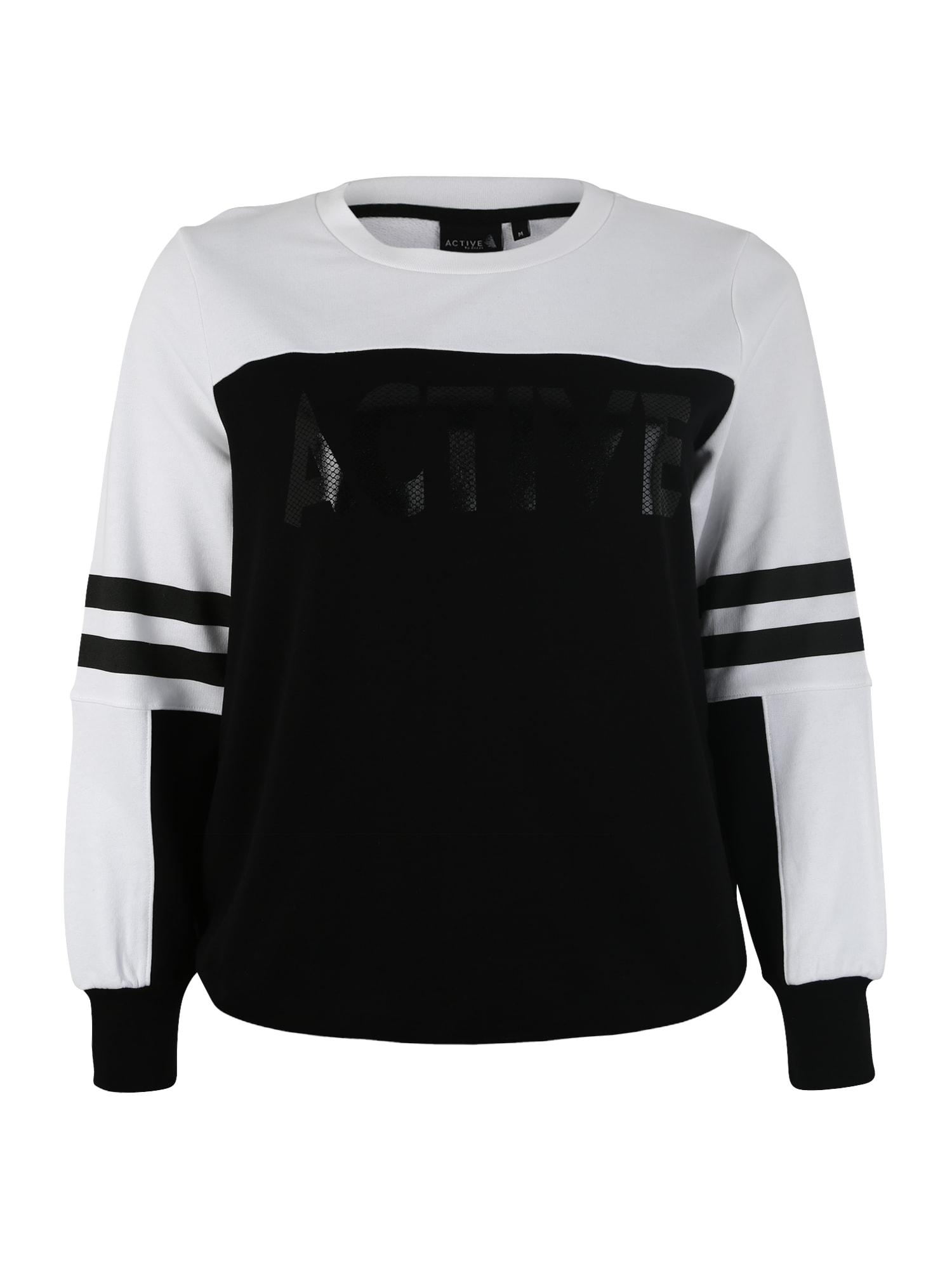 Sportovní mikina ACOLLEGE černá bílá Active By Zizzi