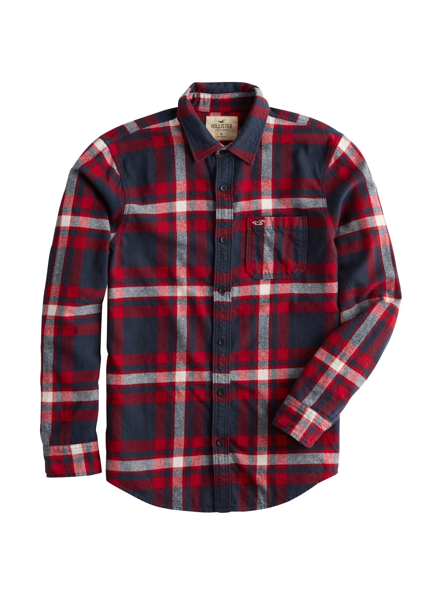 HOLLISTER Košile 'FLANNEL'  námořnická modř / červená / bílá