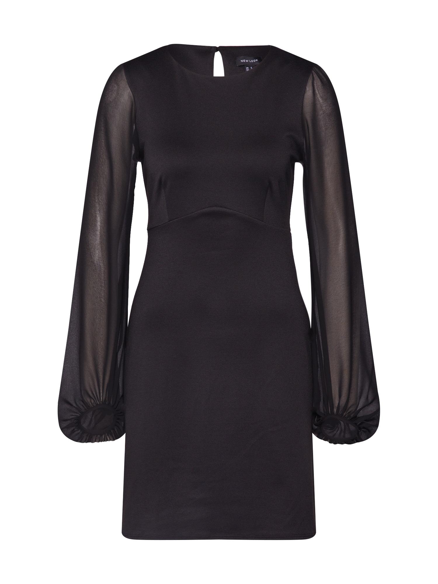NEW LOOK Koktejlové šaty 'go chiffon bell'  černá