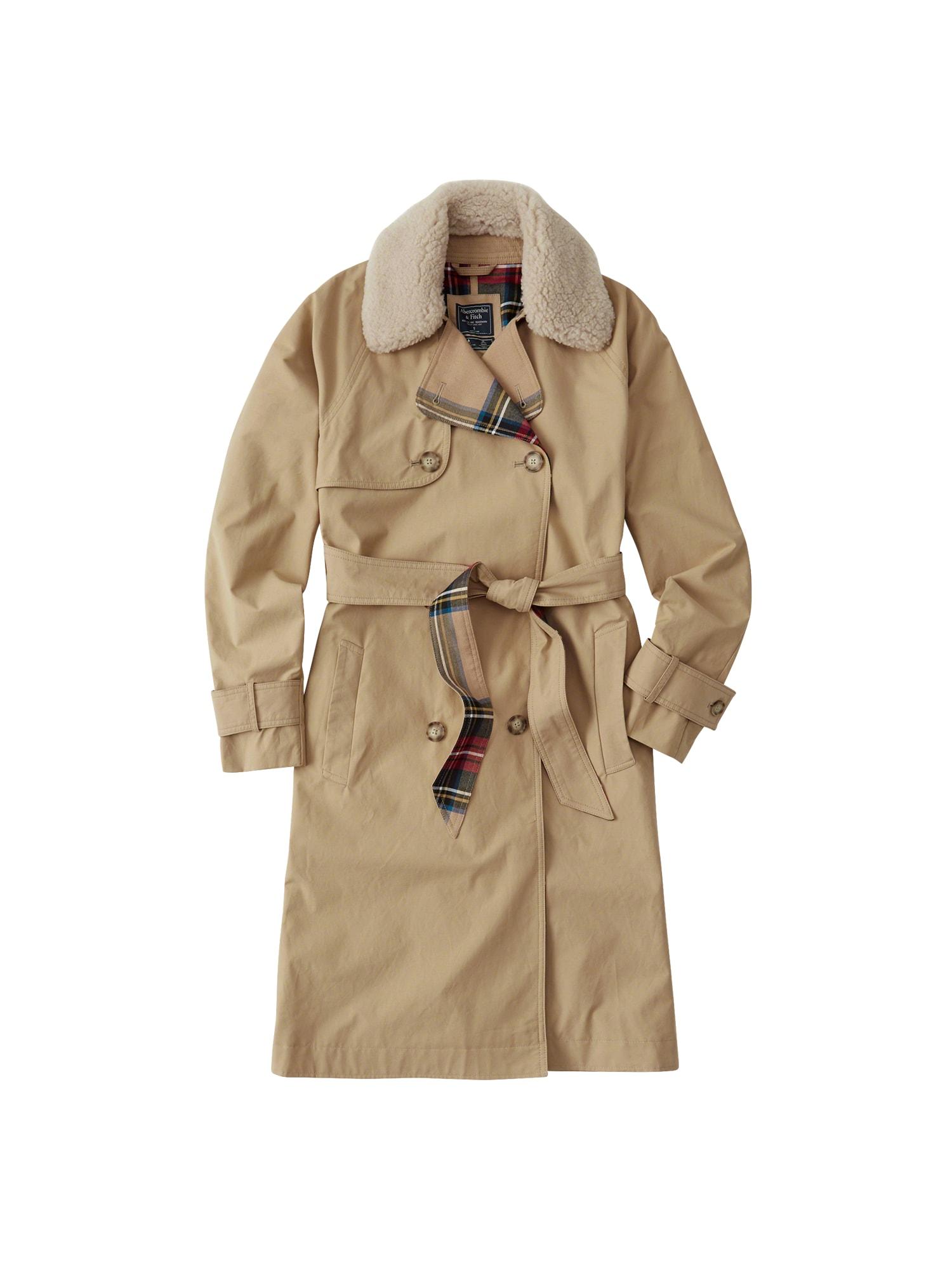 Přechodný kabát XM18-WINTER TRENCH hnědá Abercrombie & Fitch