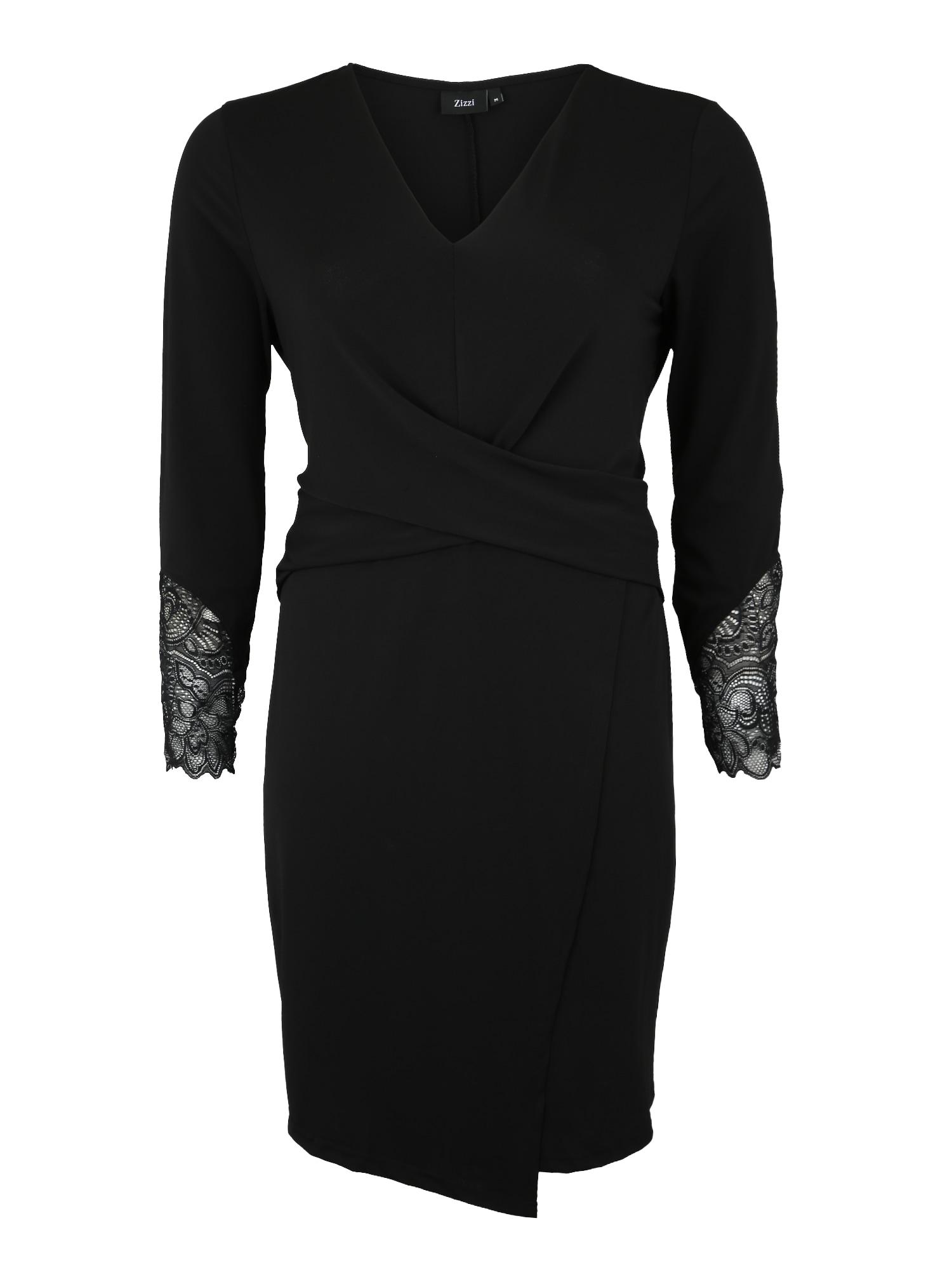 Zizzi Sukienka koktajlowa 'EPAULINE, L/S, DRESS'  czarny