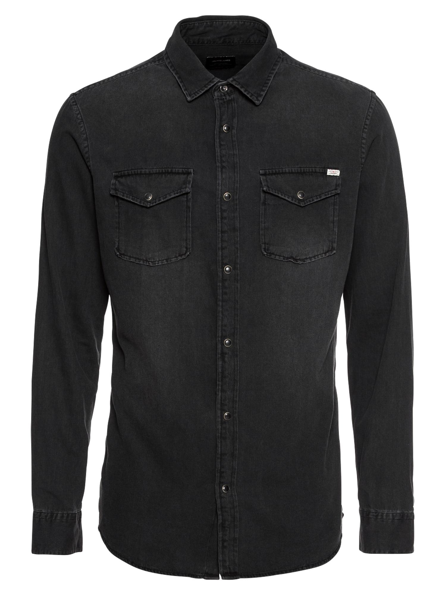 Košile JJESHERIDAN SHIRT LS černá džínovina JACK & JONES