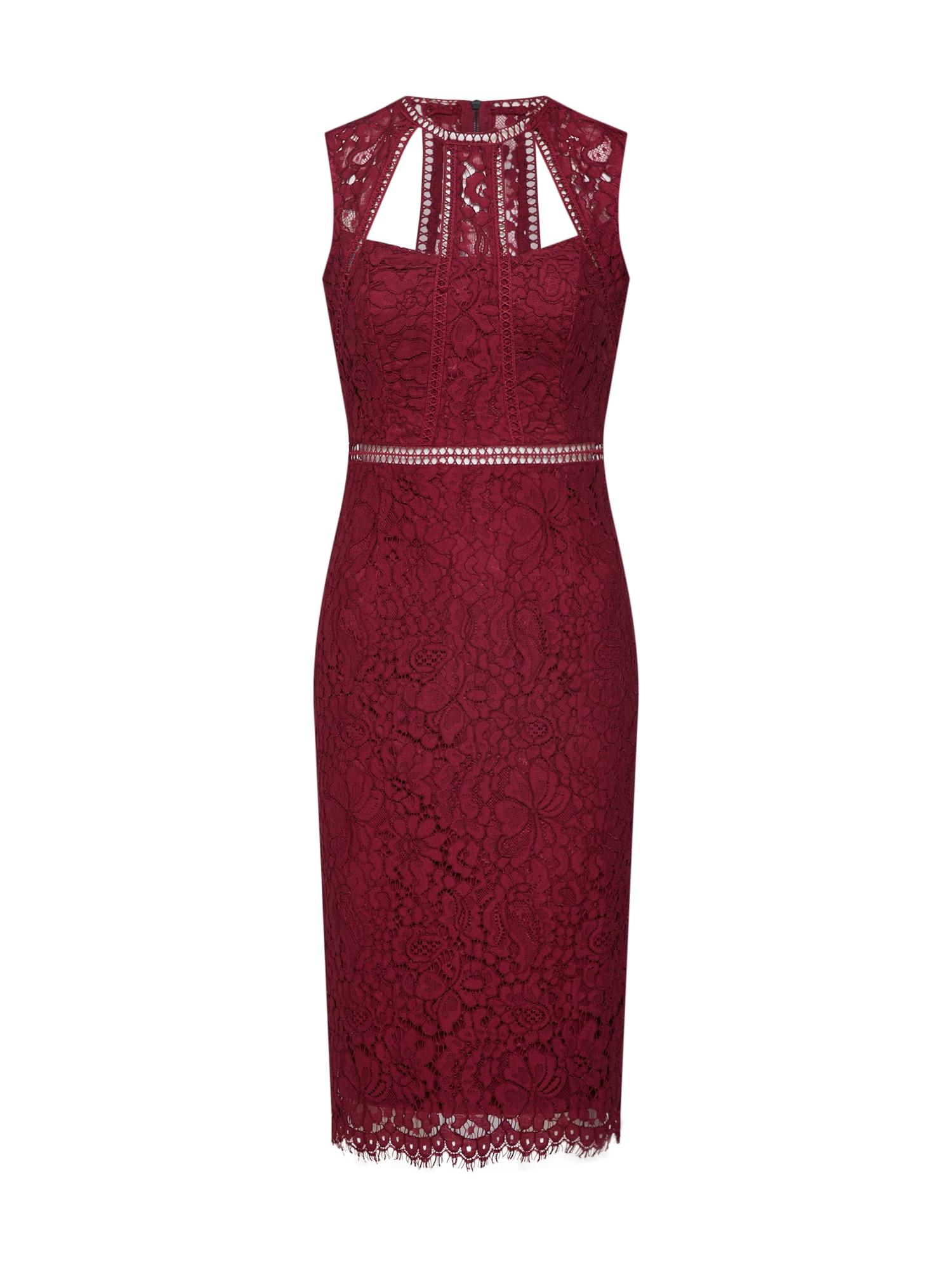 Pouzdrové šaty vínově červená Bardot