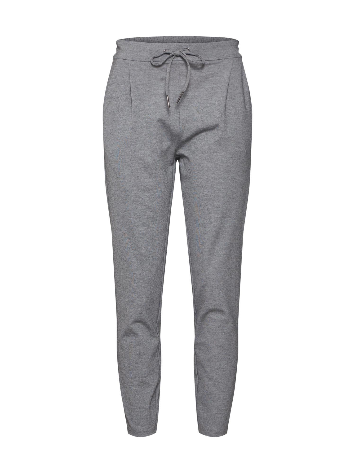Kalhoty se sklady v pase šedá VERO MODA