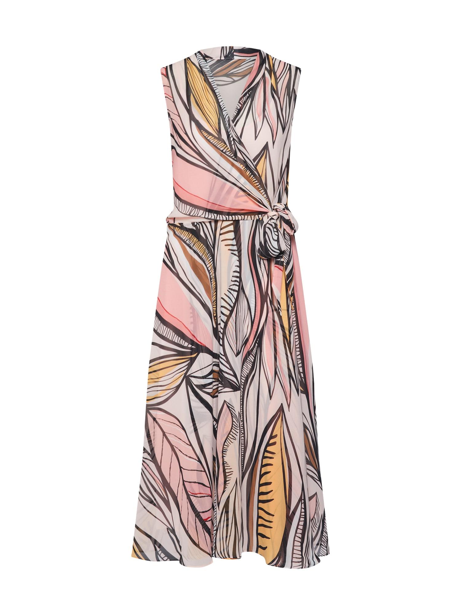 COMMA Letní šaty  černá / broskvová / oranžová / pastelově růžová