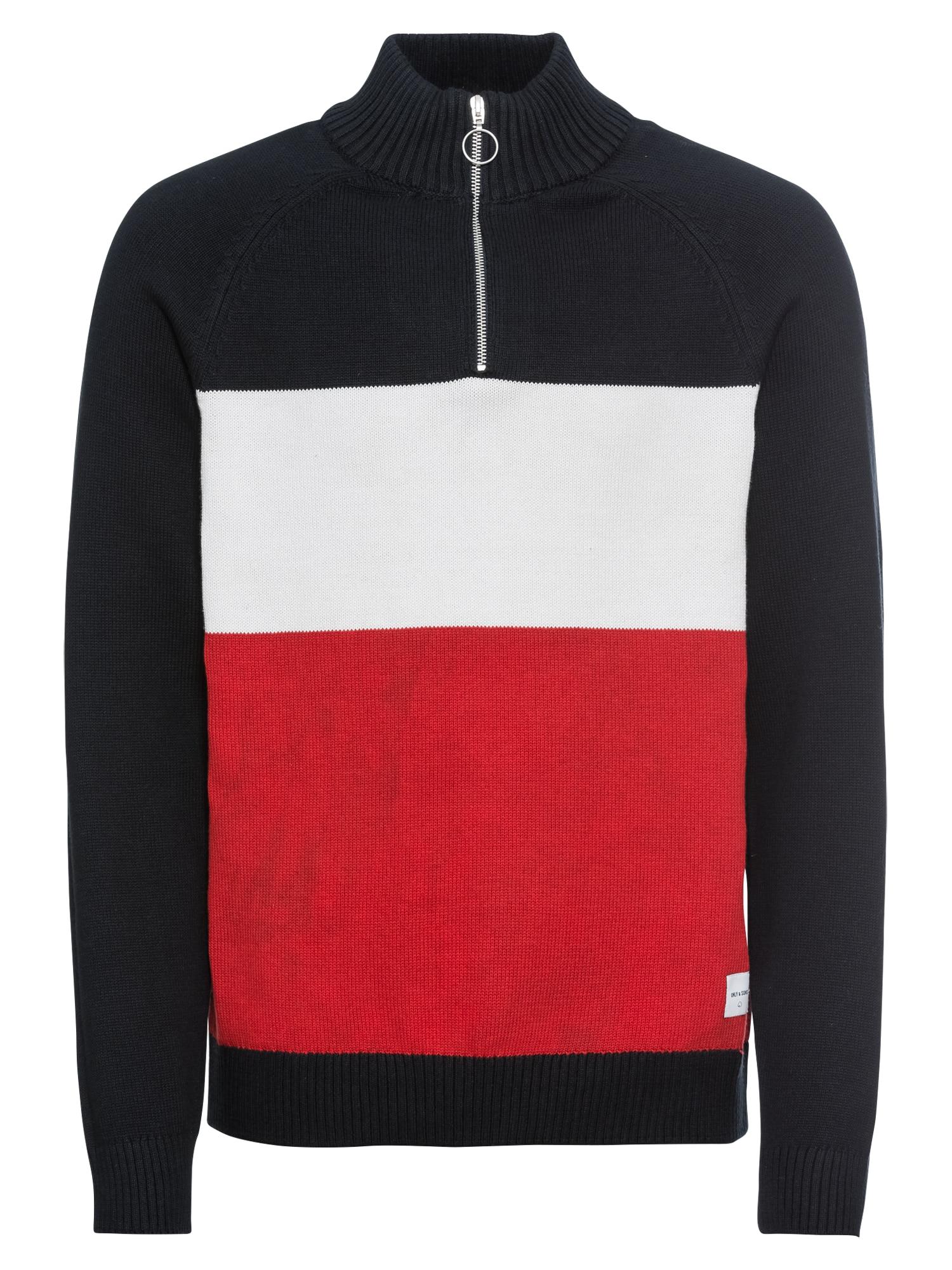 Svetr Clark námořnická modř červená bílá Only & Sons