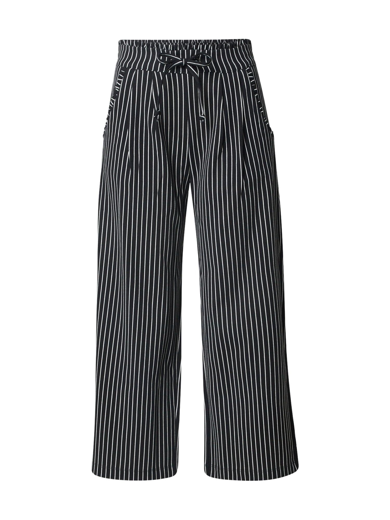 JACQUELINE De YONG Kalhoty se sklady v pase 'CATIA'  offwhite / černá