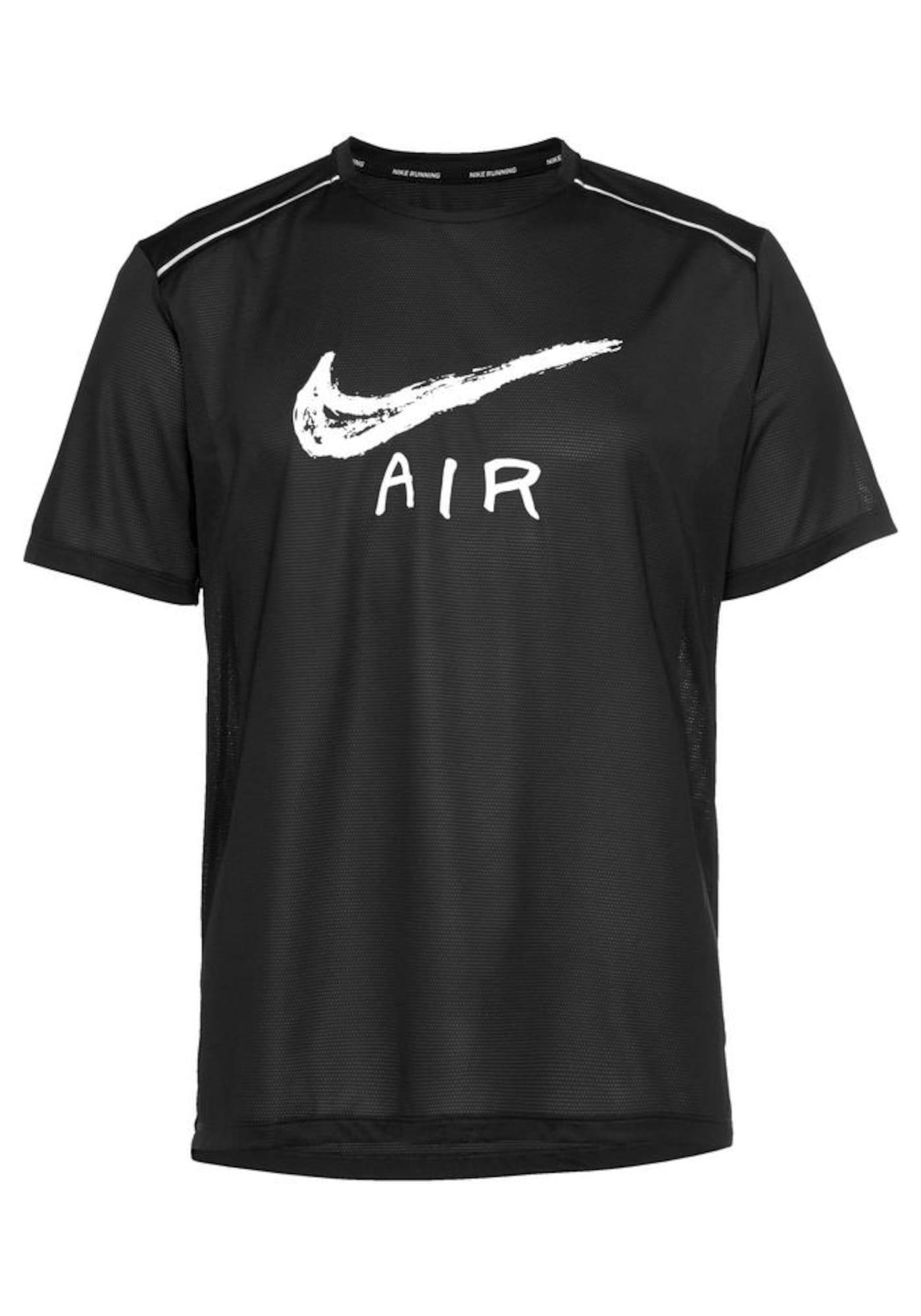 Laufshirt 'MILER' | Sportbekleidung > Sportshirts > Laufshirts | Schwarz - Weiß | Nike