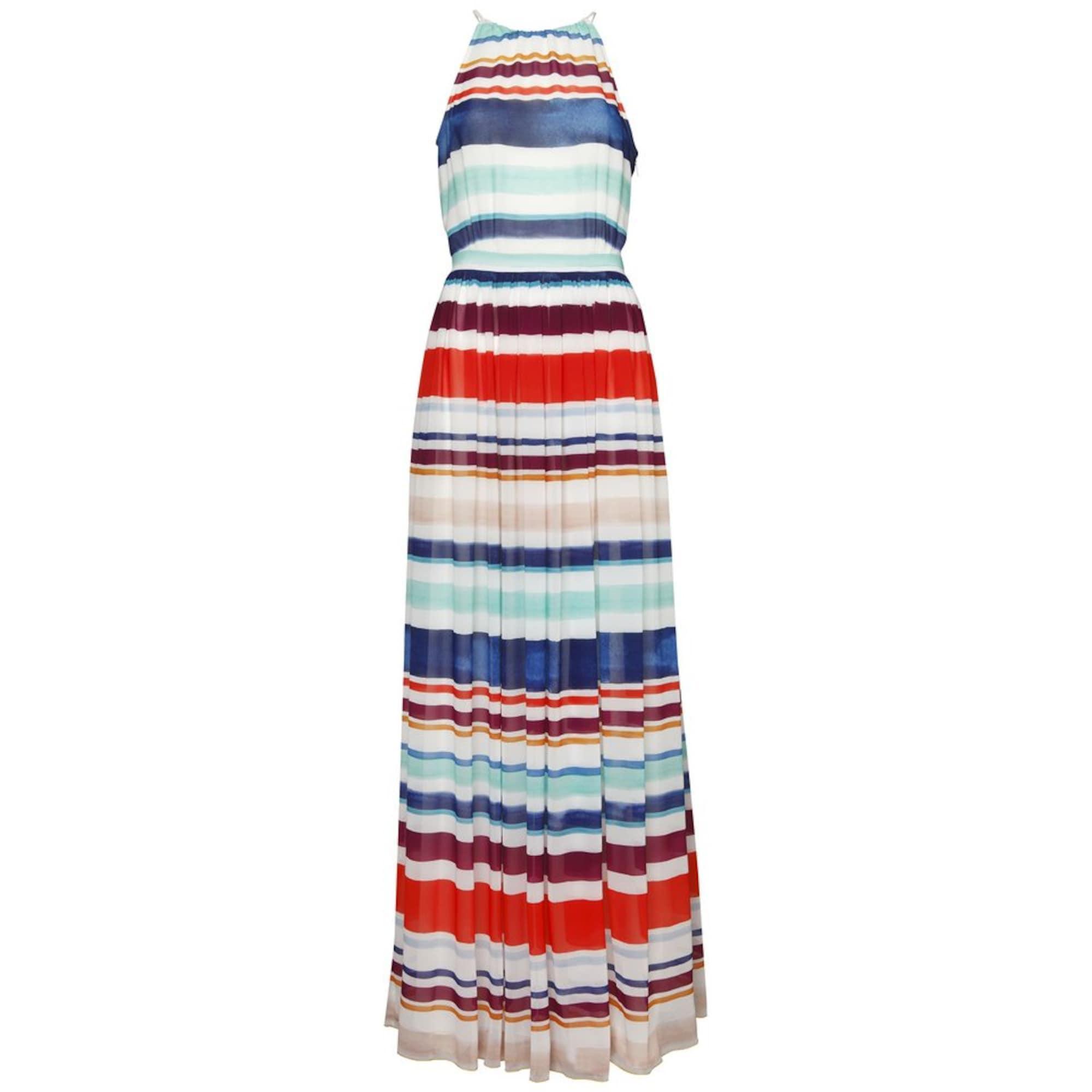 TOMMY HILFIGER, Dames Zomerjurk 'AGATHA CHIFFON MAXI DRESS', beige / lichtblauw / donkerblauw / oker / rood / donkerrood / wit