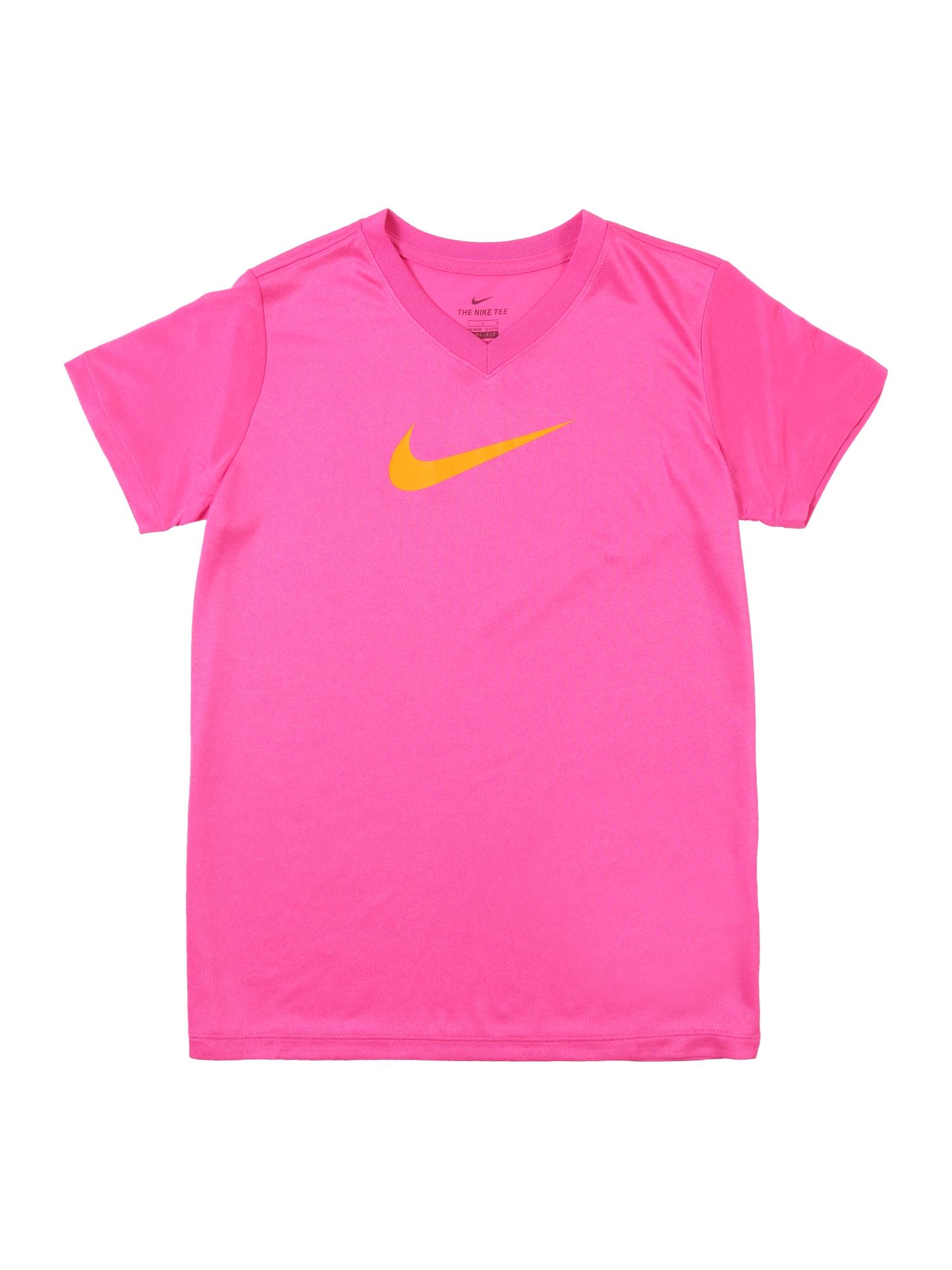 Funkční tričko G NK DRY TEE LEG VNECK SWOOSH oranžová fuchsiová NIKE