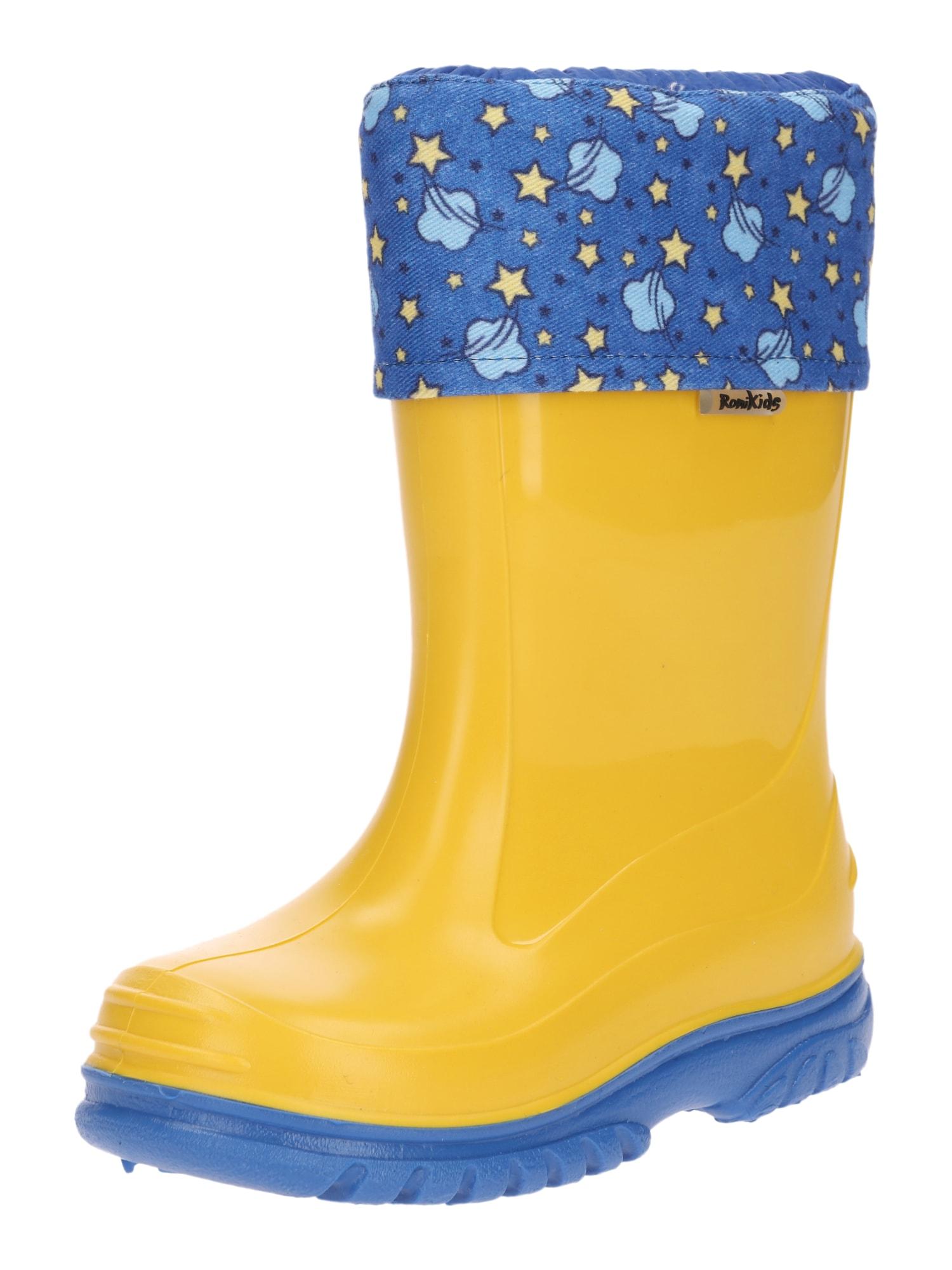 Gumové holínky Color Star nebeská modř žlutá ROMIKA