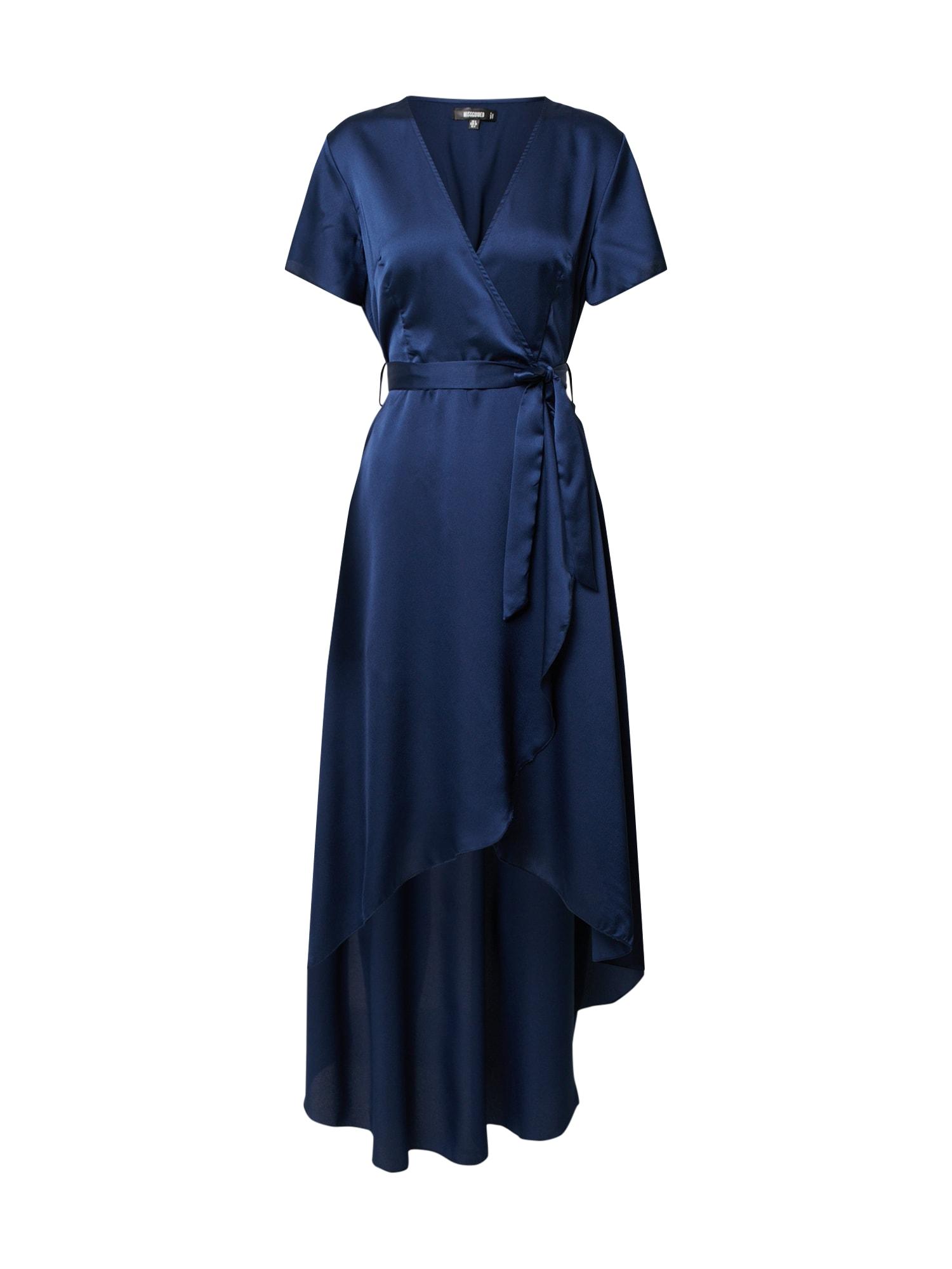 Missguided Koktejlové šaty 'HIGH LOW WRAP MIDI DRESS SS'  tmavě modrá