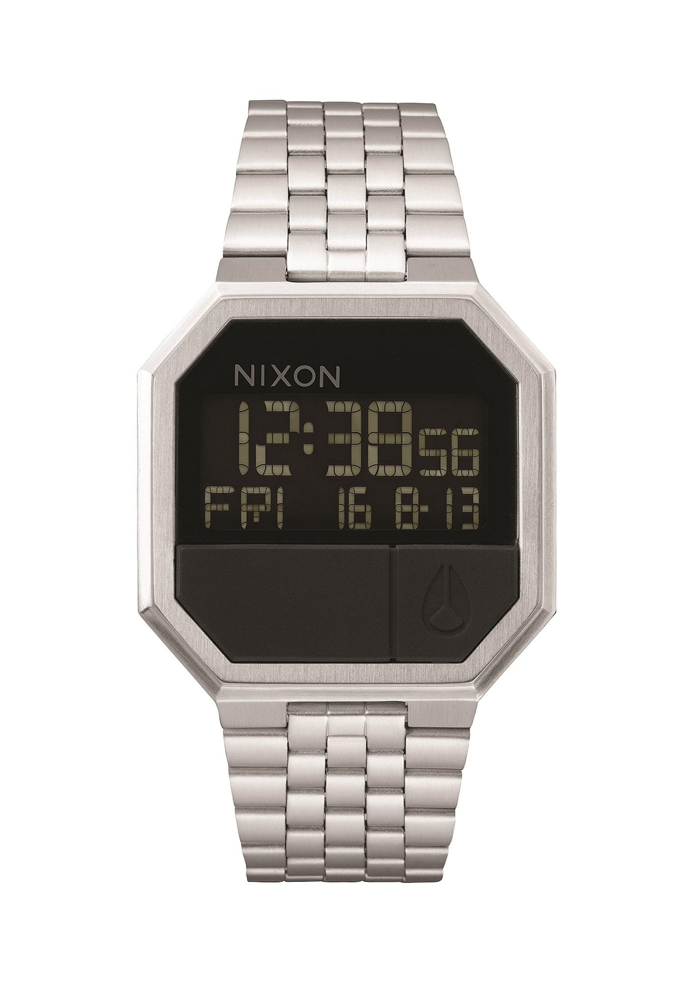 Digitální hodinky Re-Run černá stříbrná Nixon
