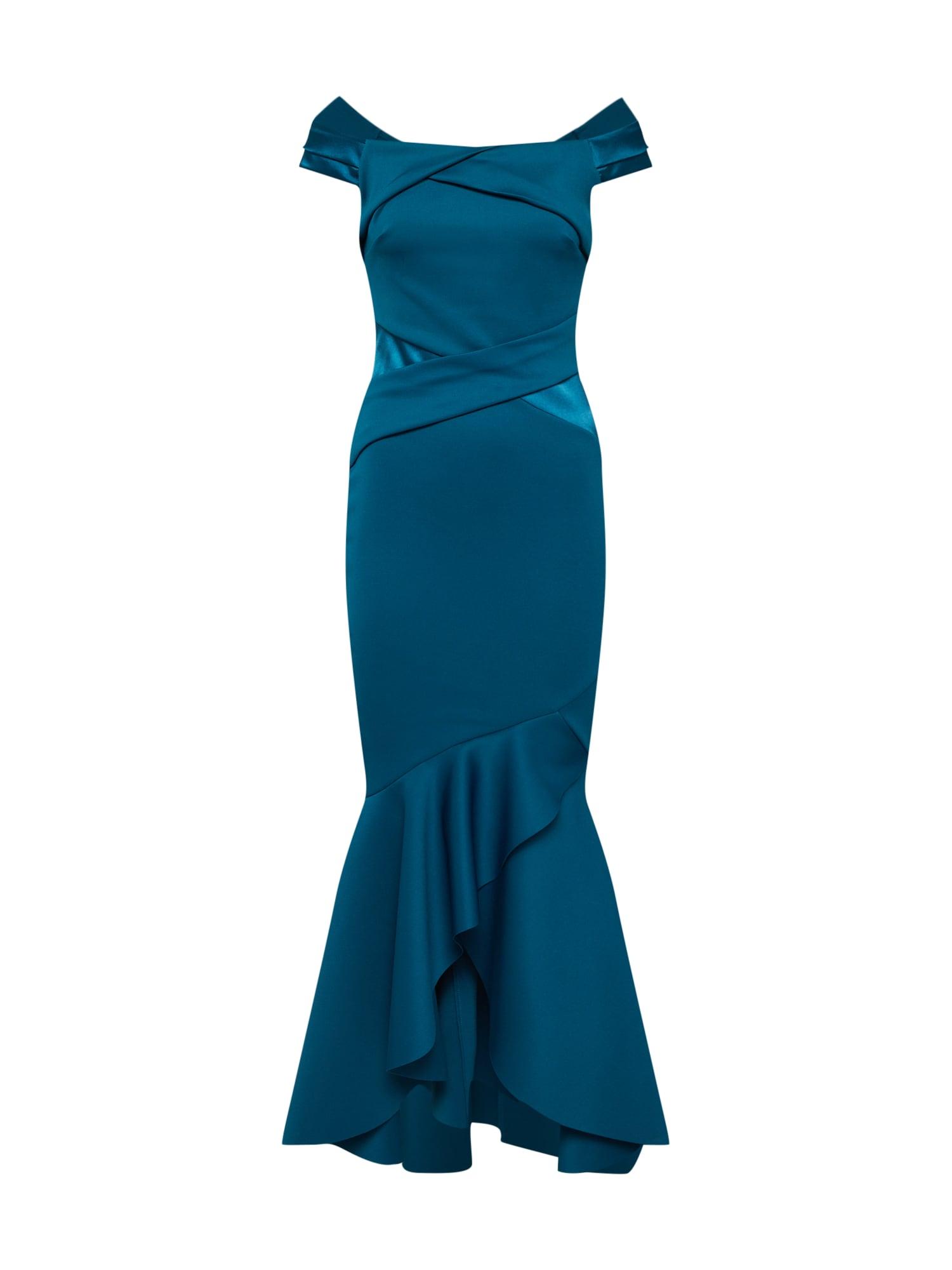 Společenské šaty TEAL BARDOT SATIN PANEL MAXI petrolejová Lipsy