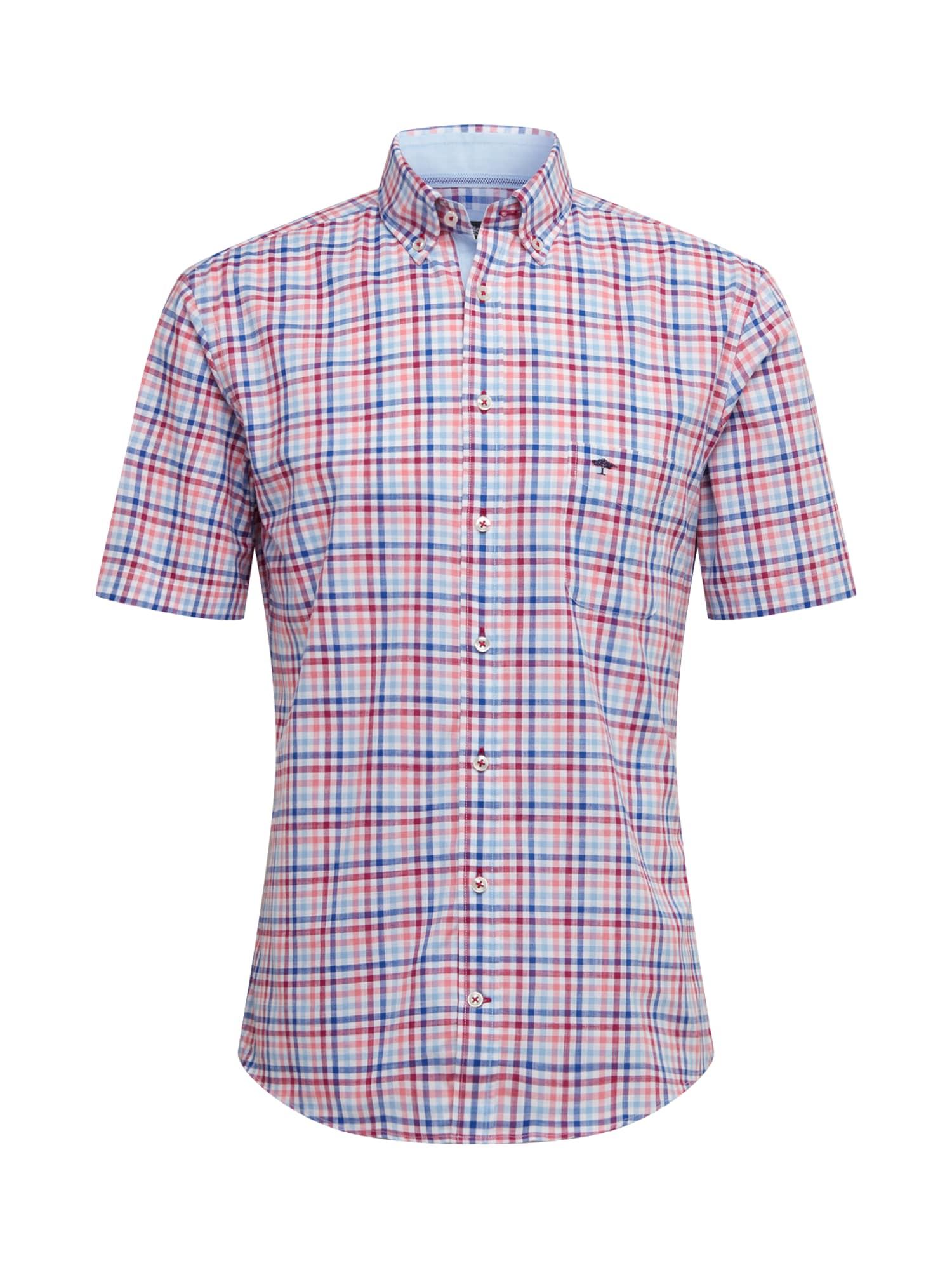 FYNCH-HATTON Košile 'Structured Combi Check'  červená / modrá / světlemodrá