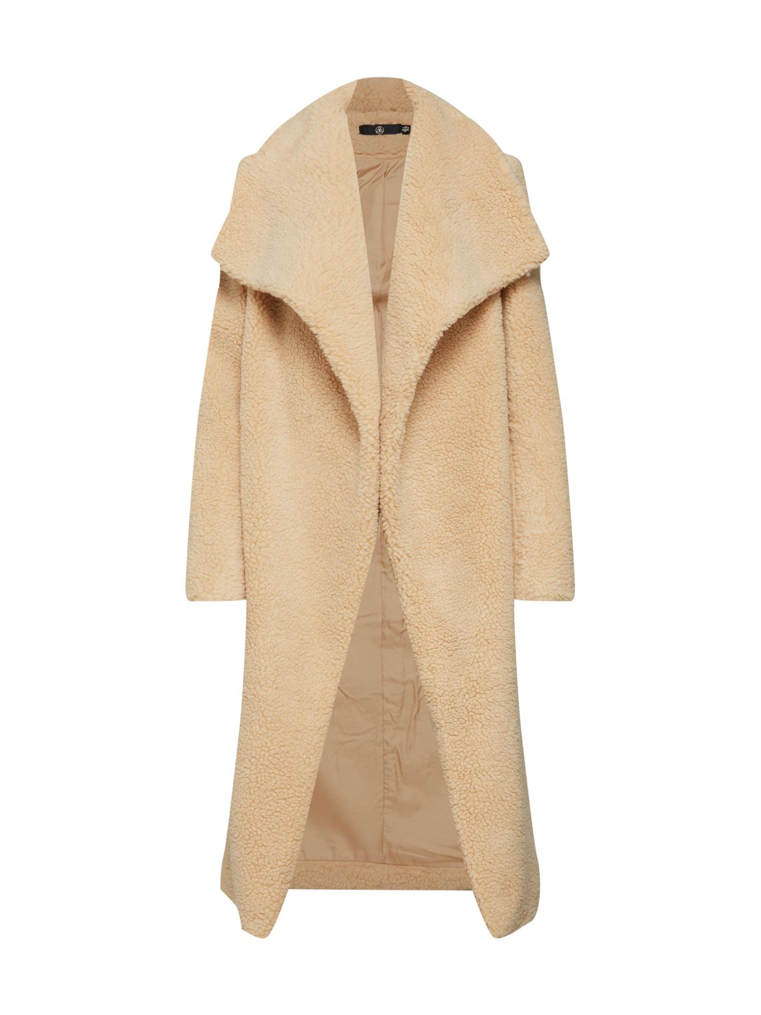 Zimní kabát WATERFALL TEDDY COAT krémová Missguided