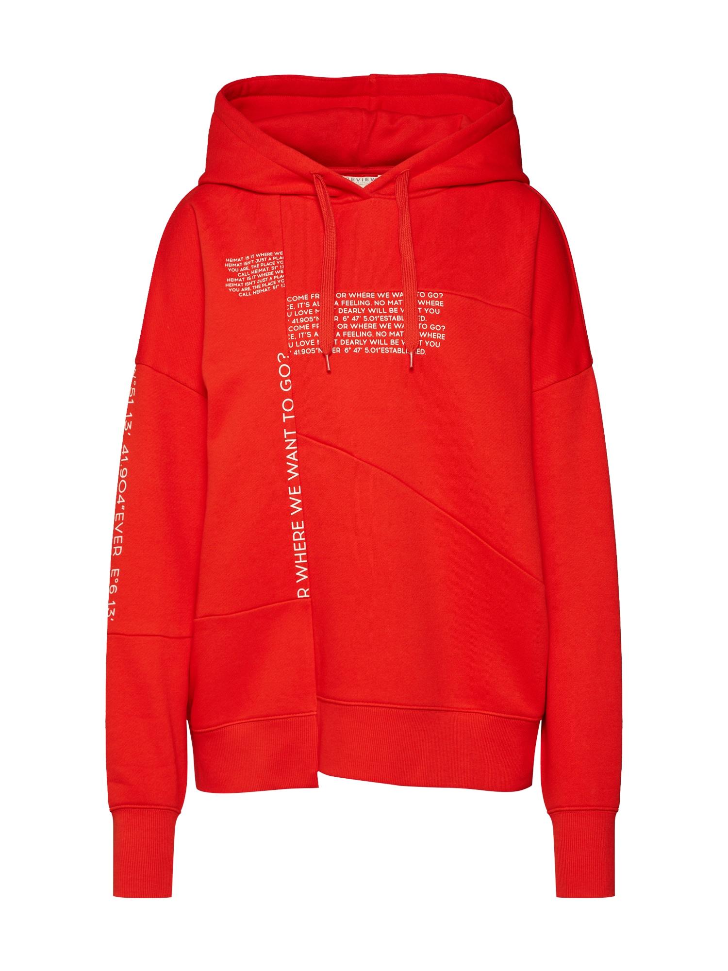 Review, Dames Sweatshirt 'DECONSTR HOODIE', rood