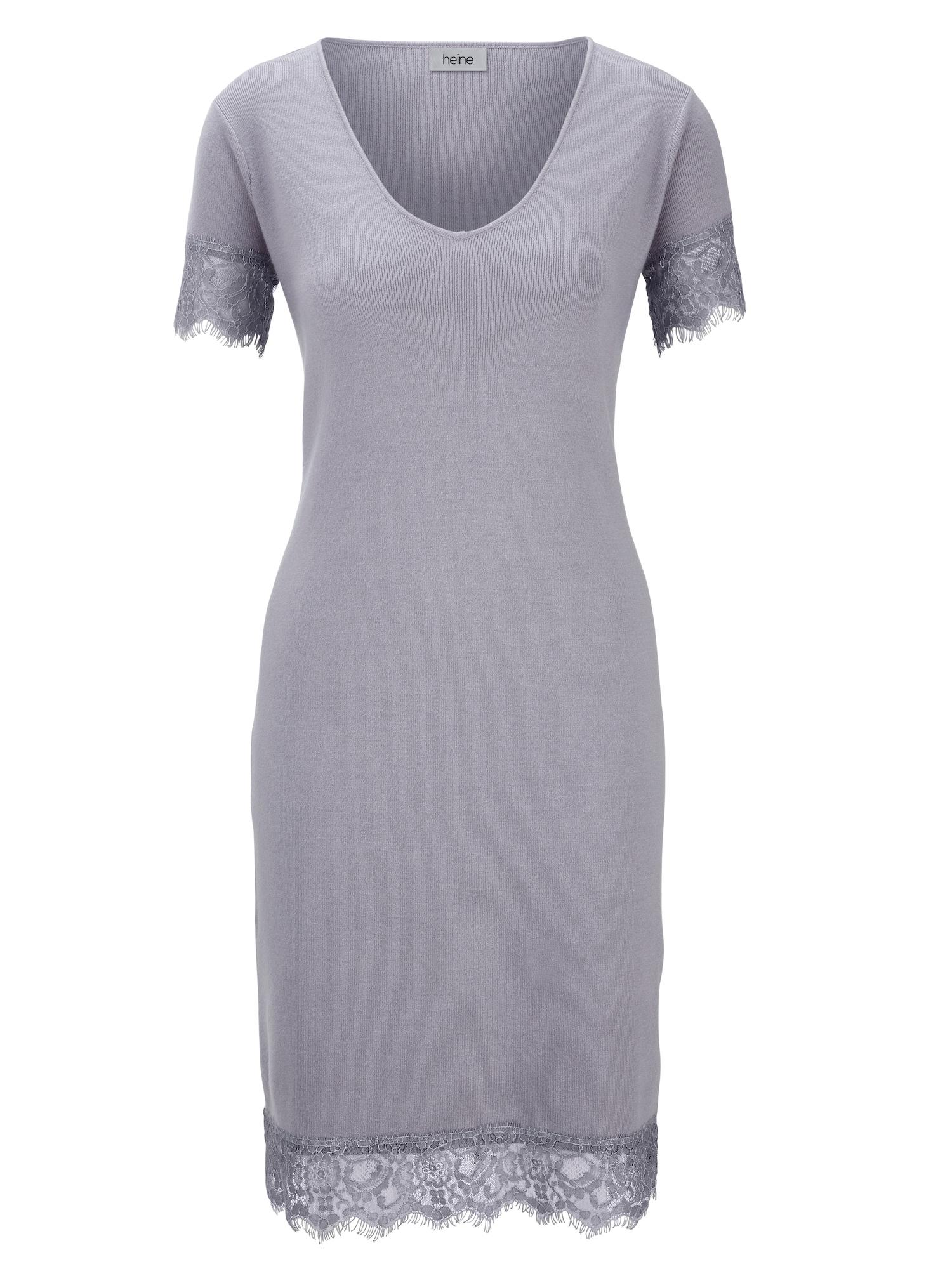 Úpletové šaty světle šedá Heine