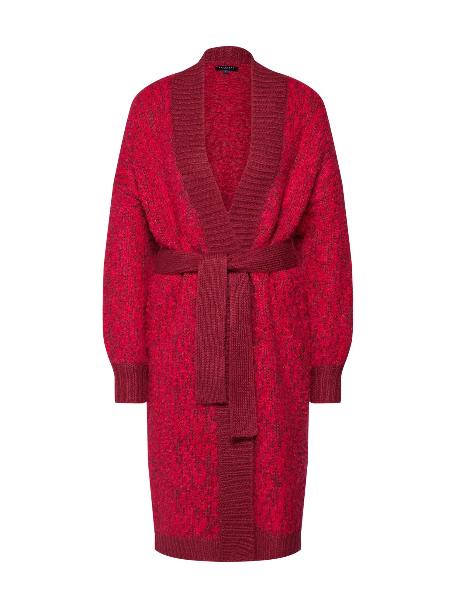 Pletený kabátek SLFGABA LS KNIT CARDIGAN pitaya červená třešeň SELECTED FEMME