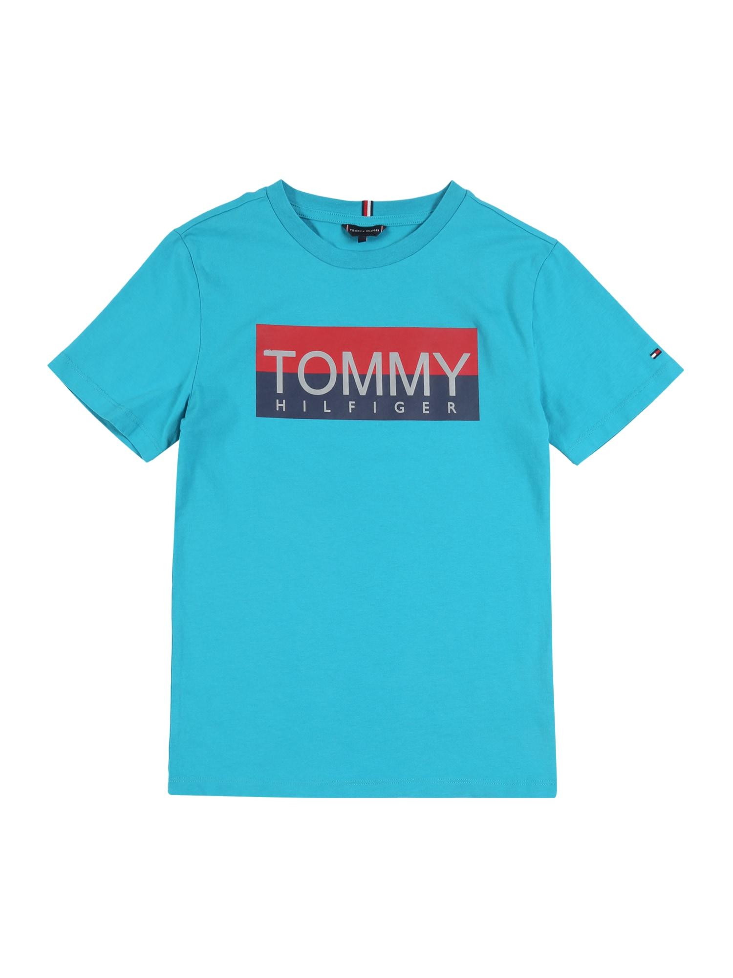 TOMMY HILFIGER Tričko 'REFLECTIVE HILFIGER TEE S/S'  tyrkysová