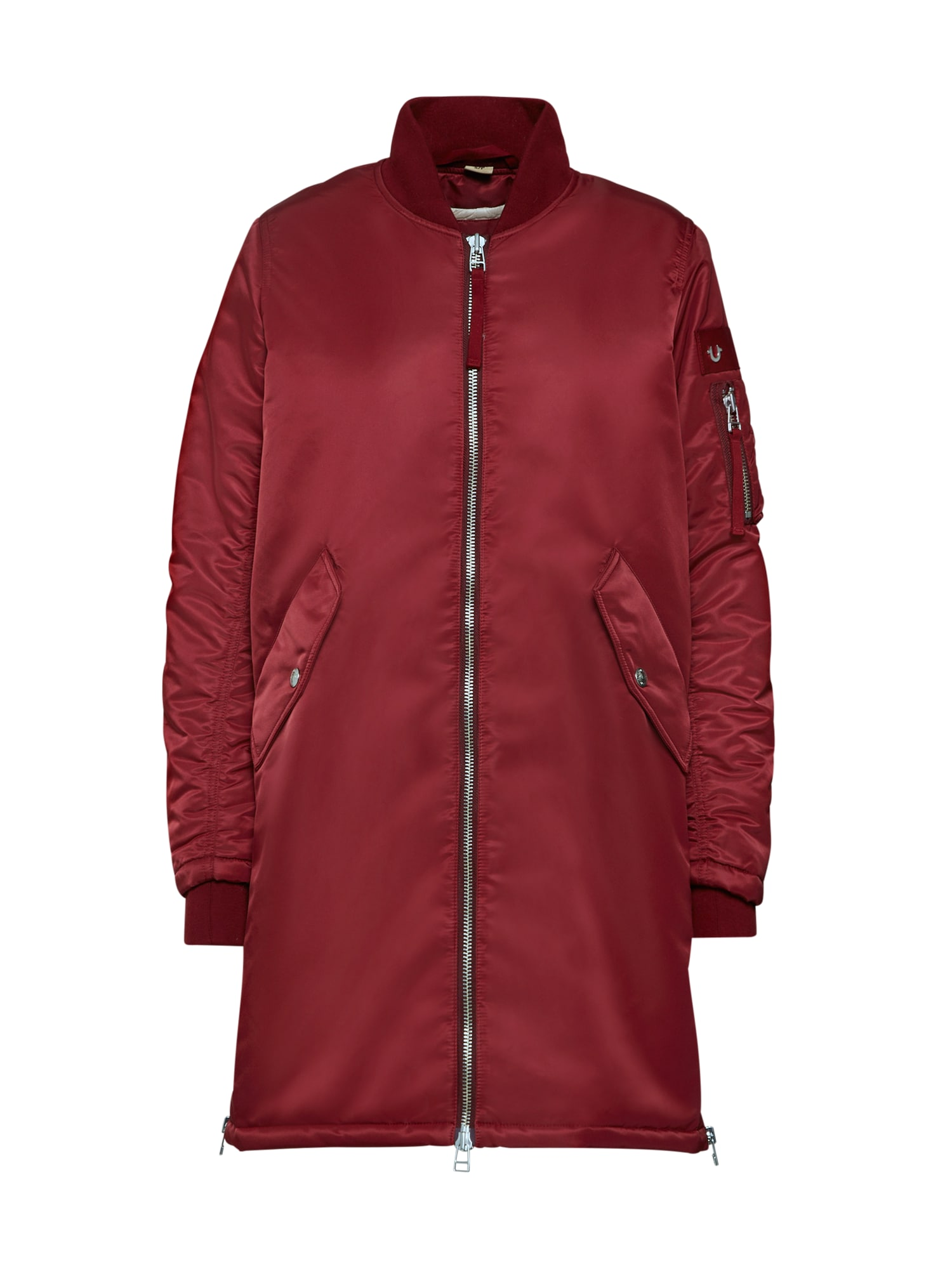 Přechodný kabát LONG BOMBER tmavě červená True Religion