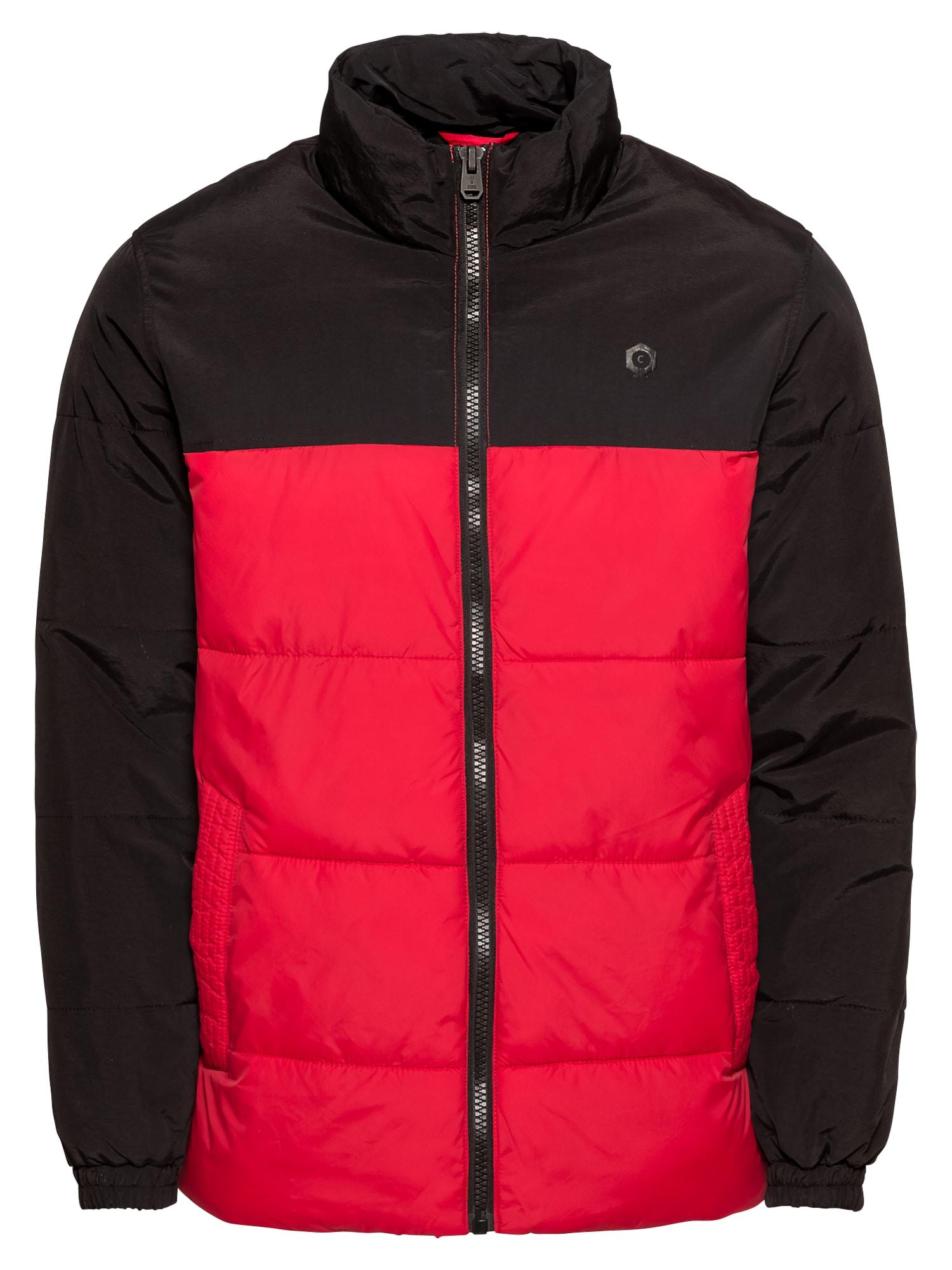 JACK & JONES Zimní bunda 'JCOCROSS JACKET COLLAR'  červená / černá
