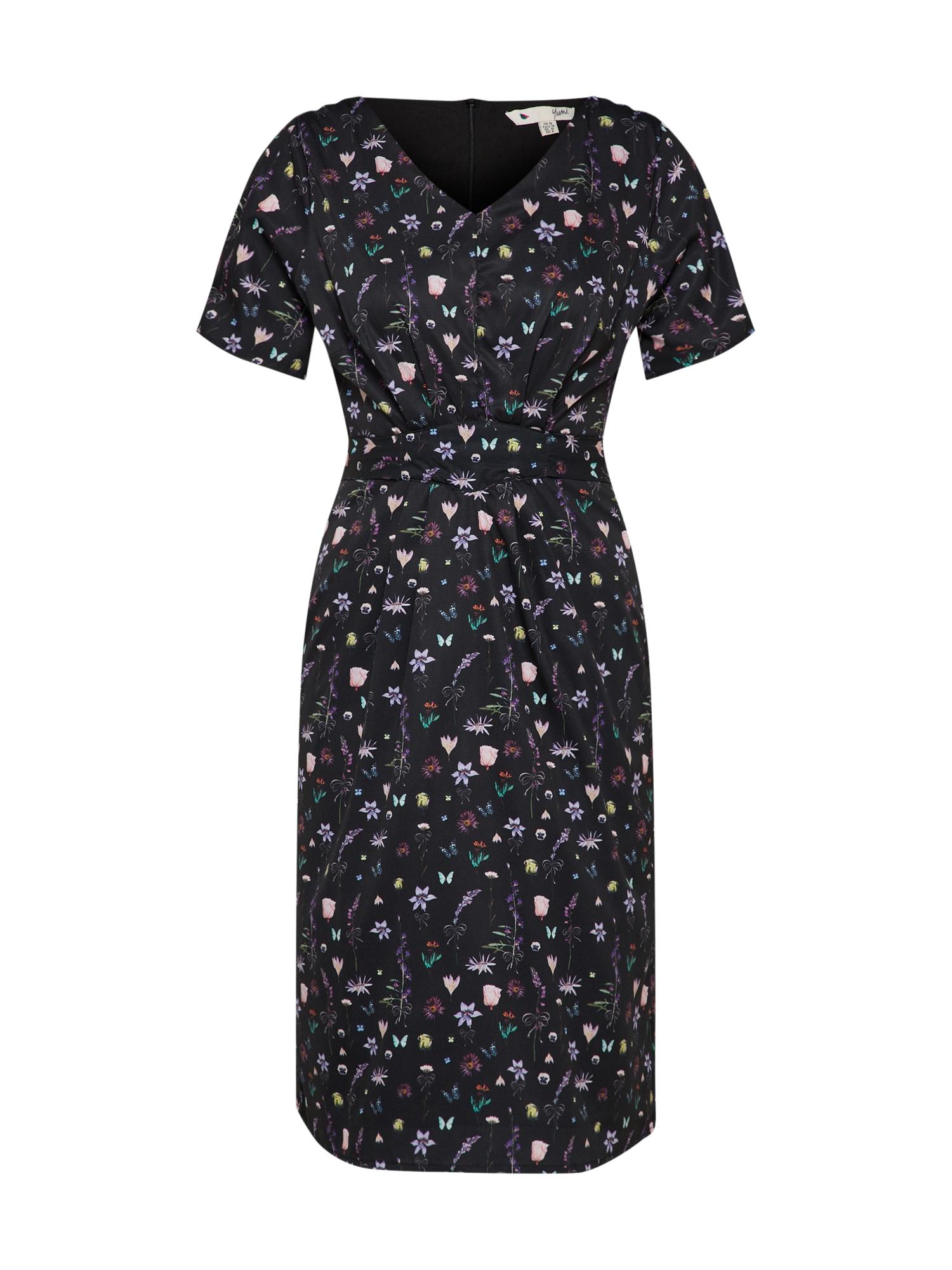 Letní šaty FRENCH BOTANICAL mix barev černá Yumi