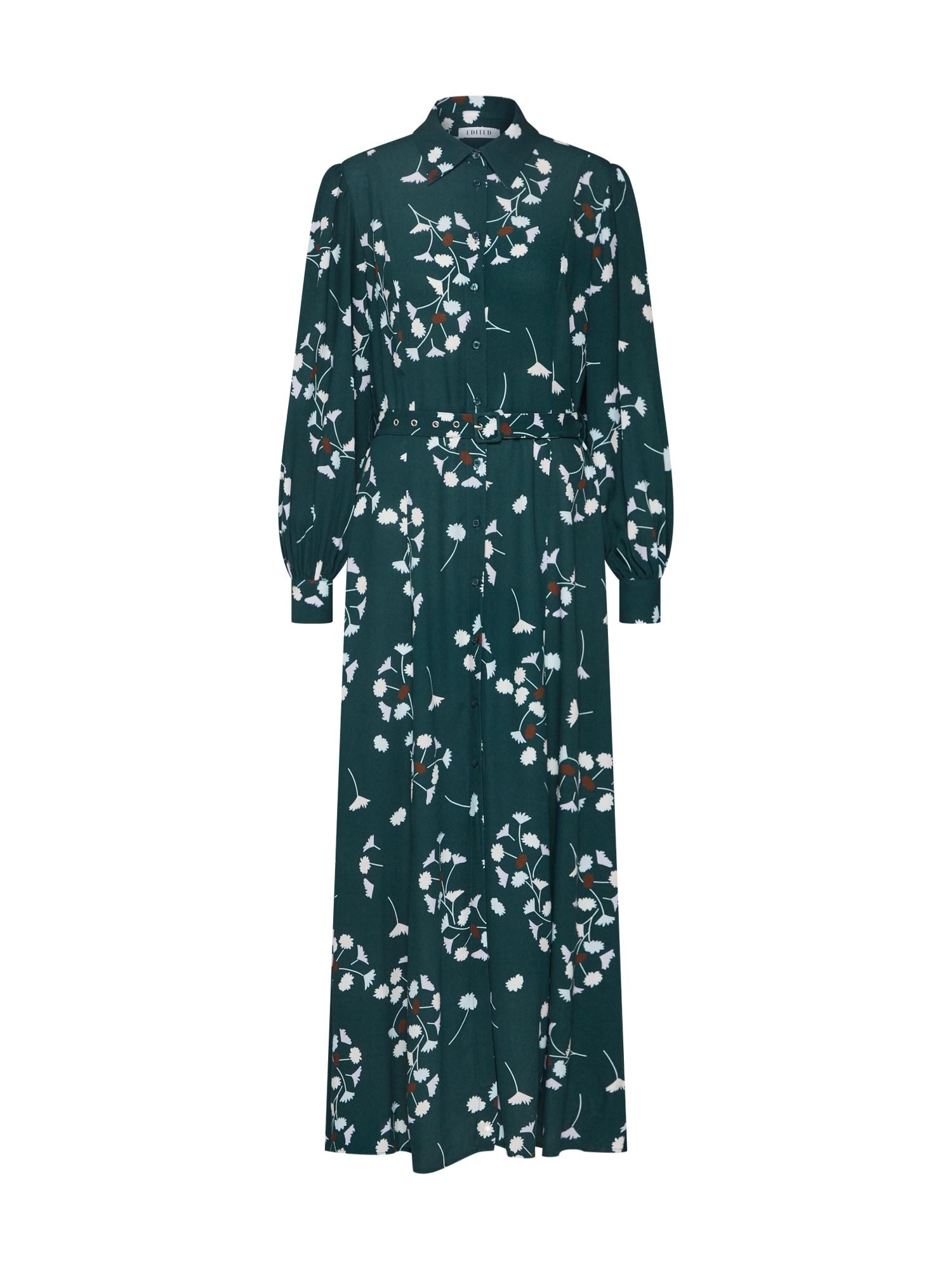 Košilové šaty Lesly zelená bílá EDITED