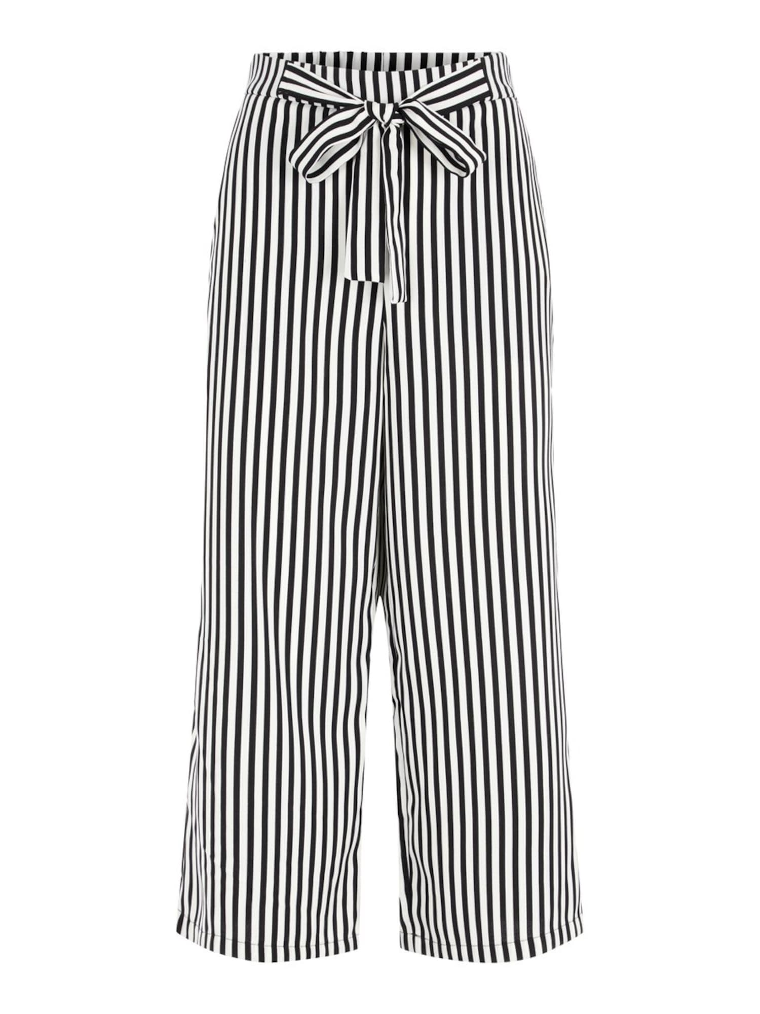 PIECES Kalhoty 'KELLIE'  černá / bílá