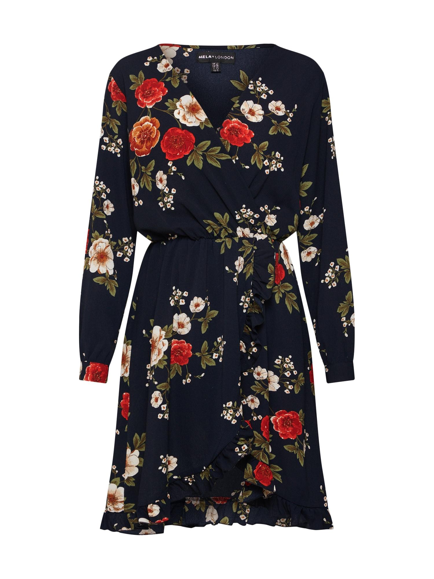 Šaty FLORAL FRONT FRILL DRESS námořnická modř mix barev Mela London