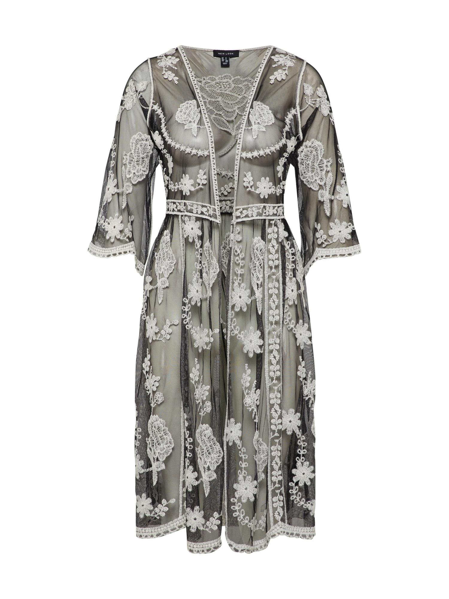 NEW LOOK, Dames Kimono, zwart / natuurwit